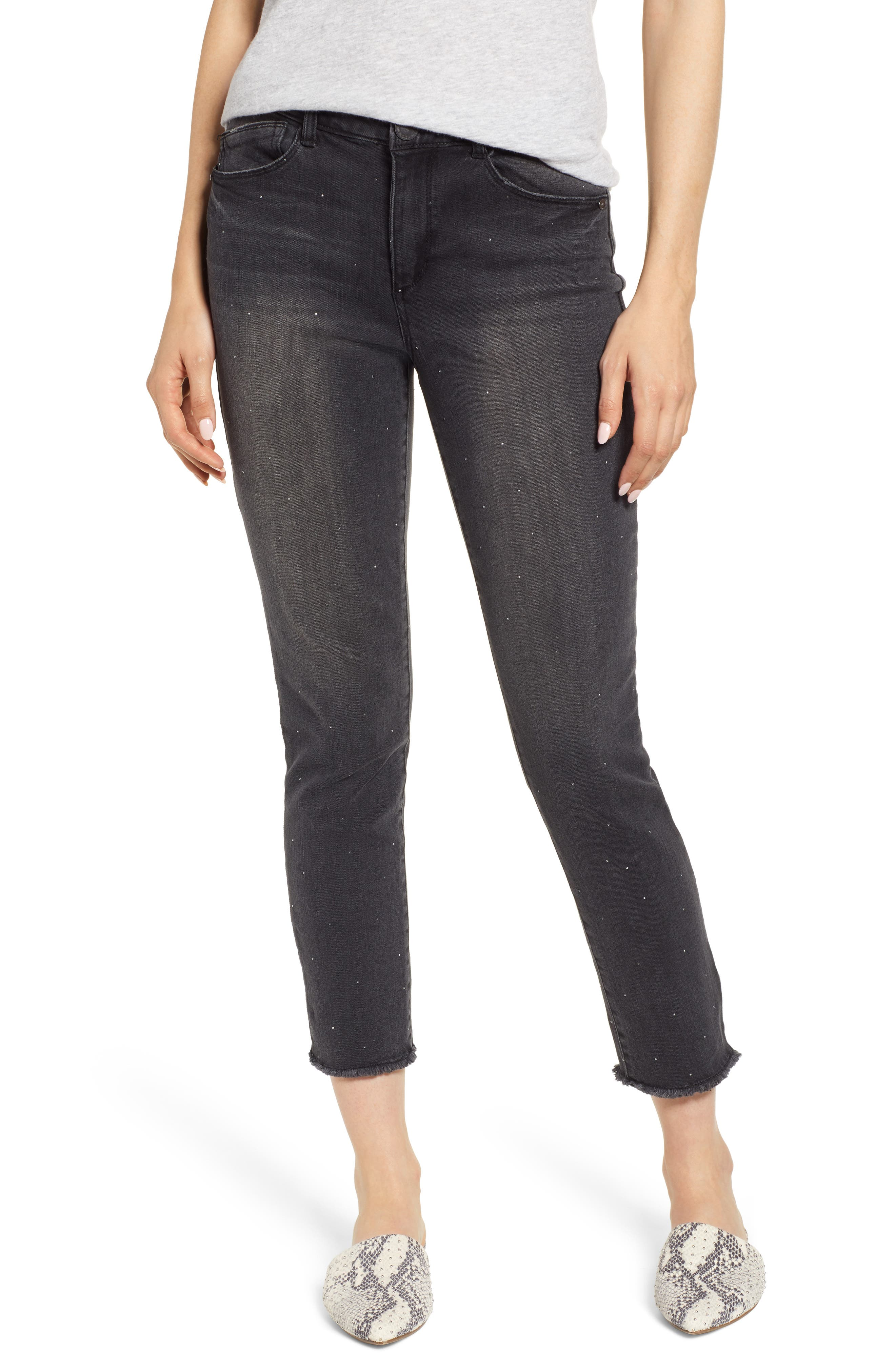 Ab-Solution Embellished Ankle Jeans,                             Main thumbnail 1, color,                             001
