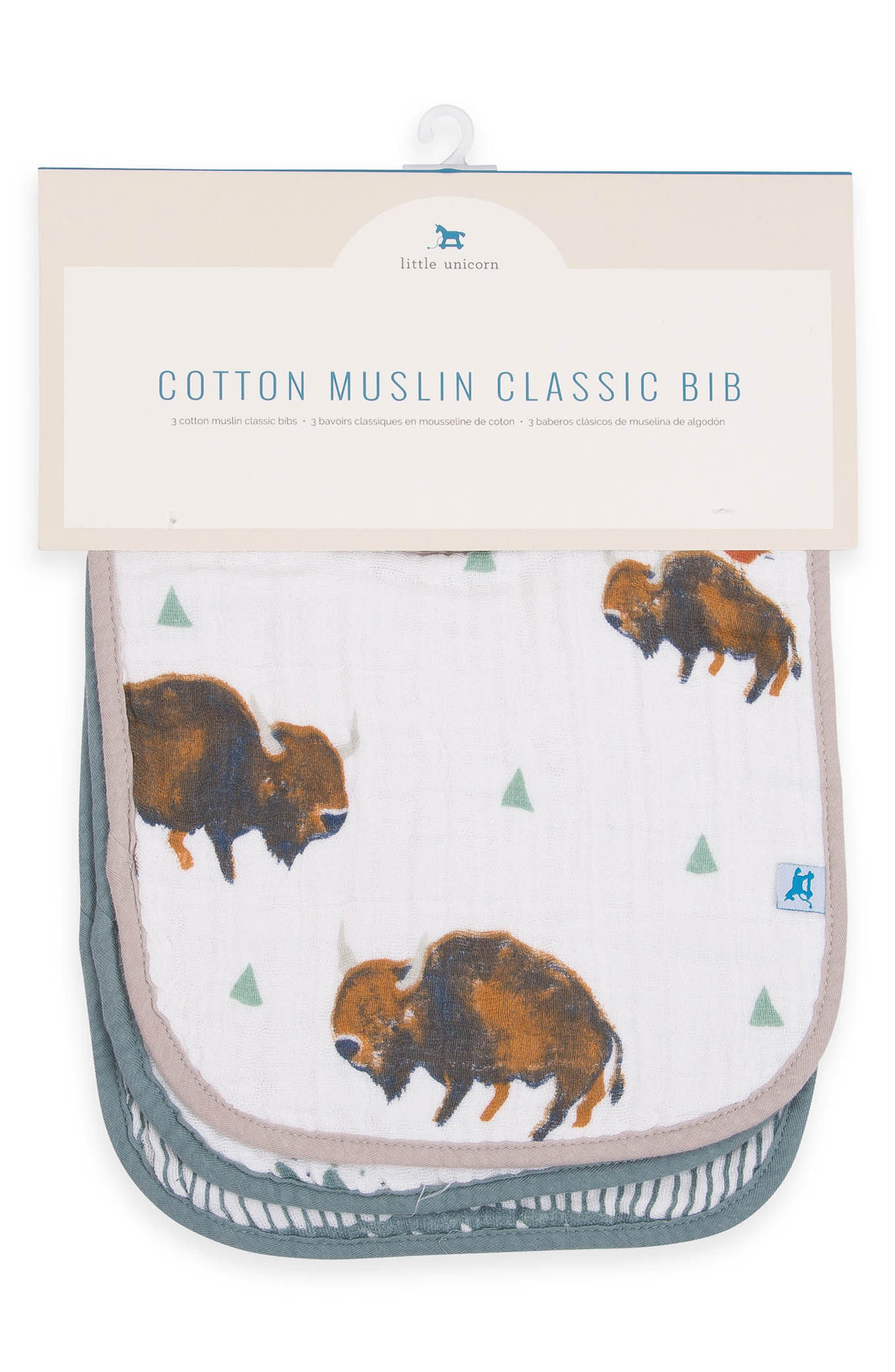 3-Pack Classic Cotton Muslin Bibs,                             Alternate thumbnail 2, color,                             BISON