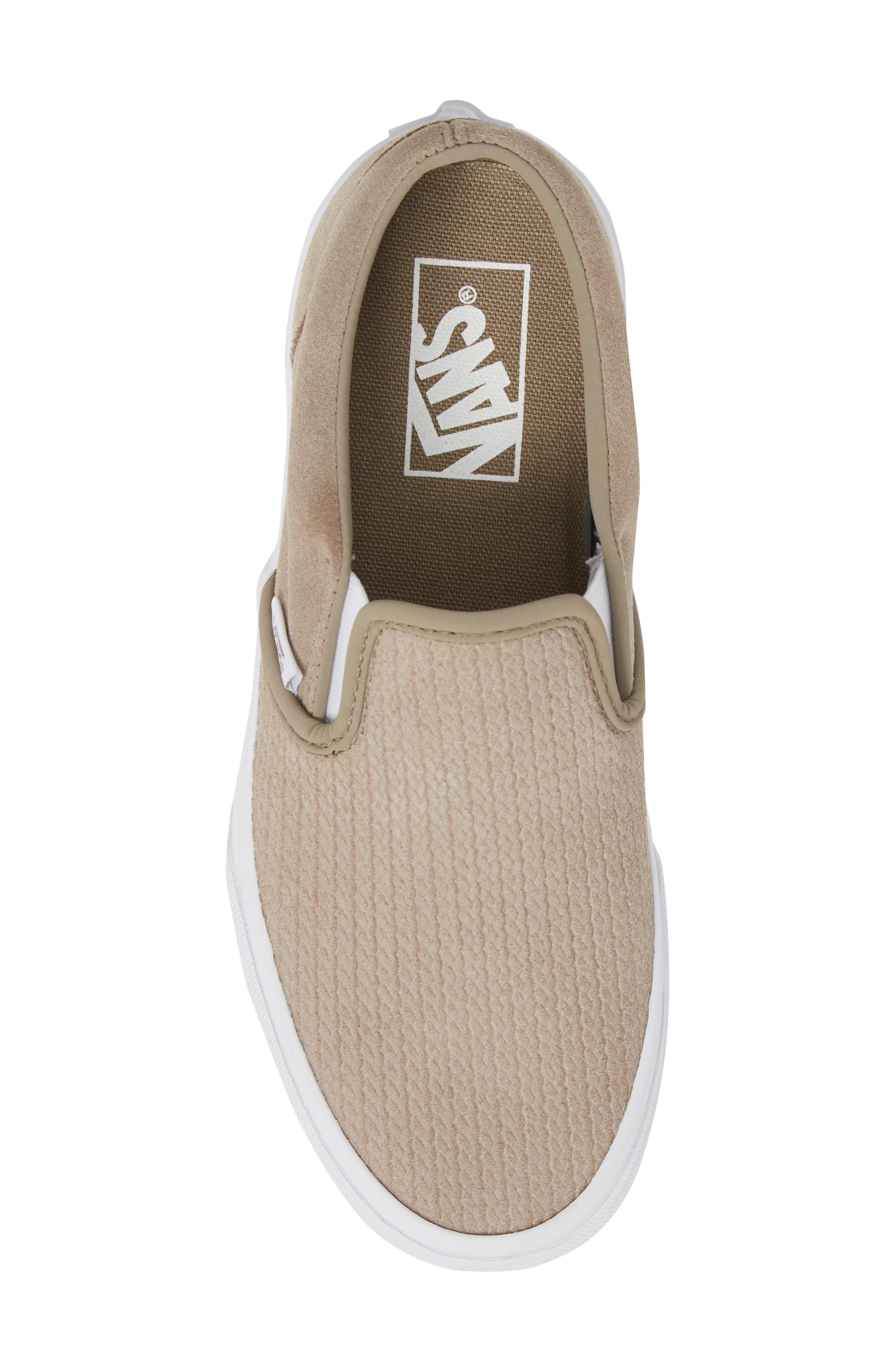 Classic Slip-On Sneaker,                             Alternate thumbnail 5, color,                             DESERT TAUPE/ EMBOSS SUEDE
