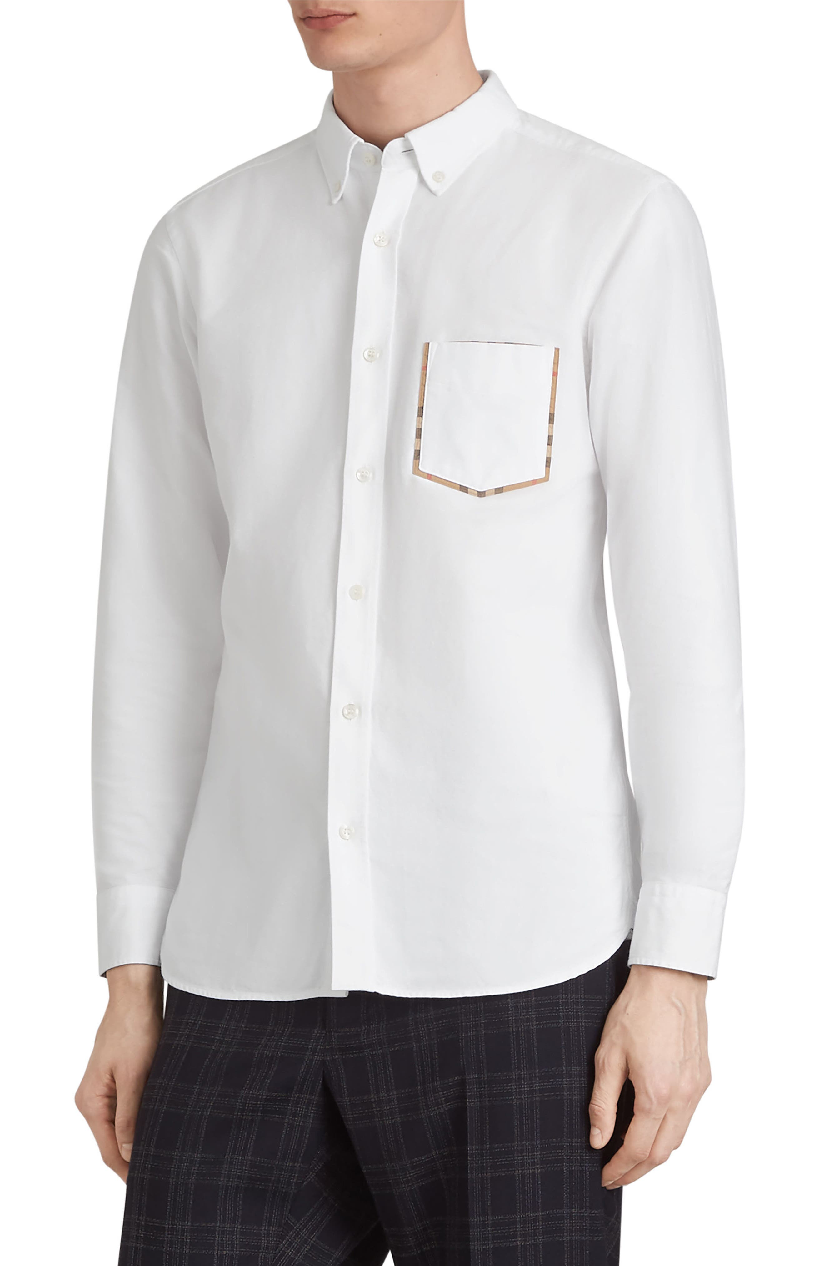 BURBERRY,                             Harry Check Trim Sport Shirt,                             Main thumbnail 1, color,                             WHITE