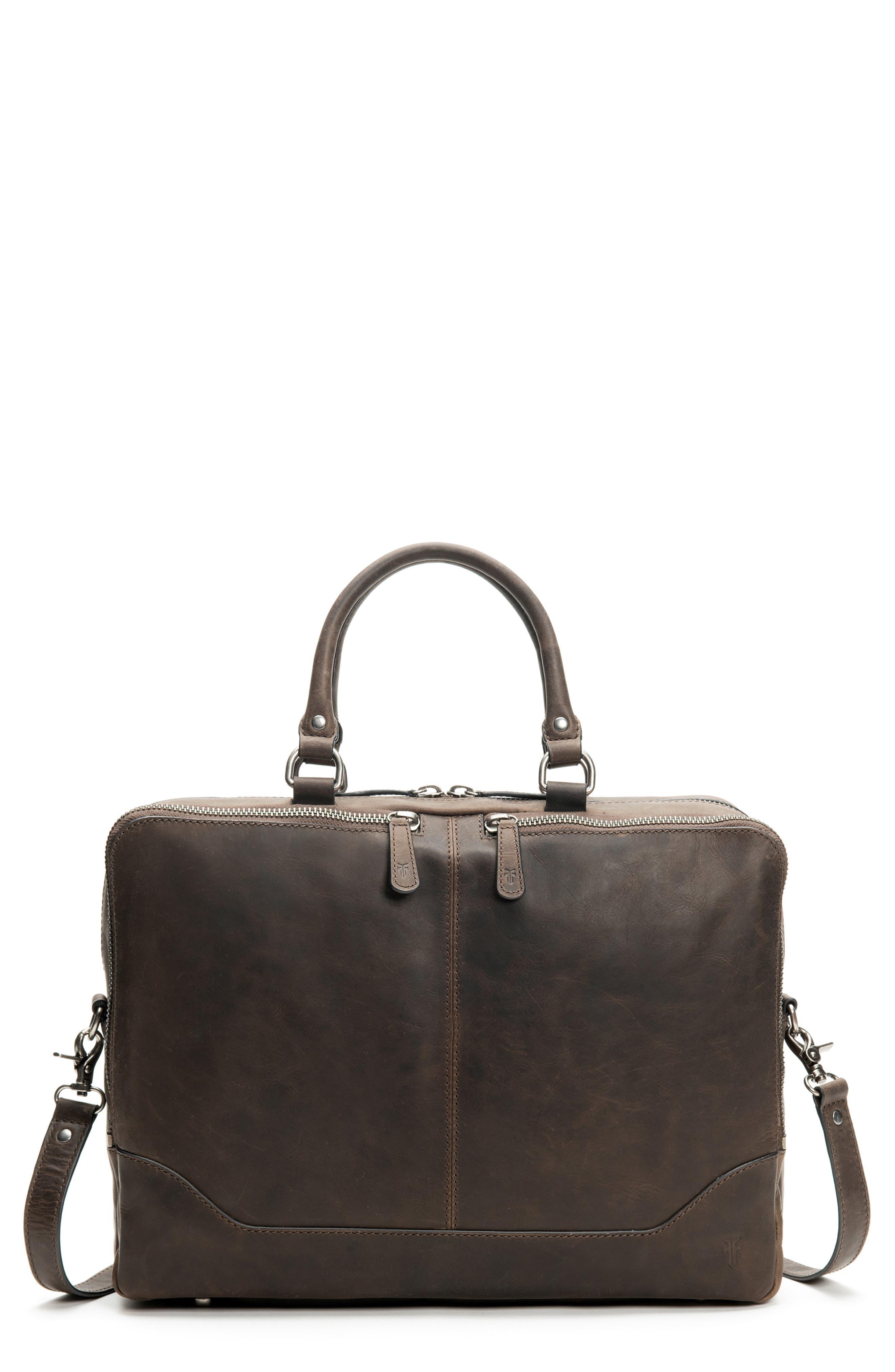 Logan Leather Briefcase, Main, color, SLATE
