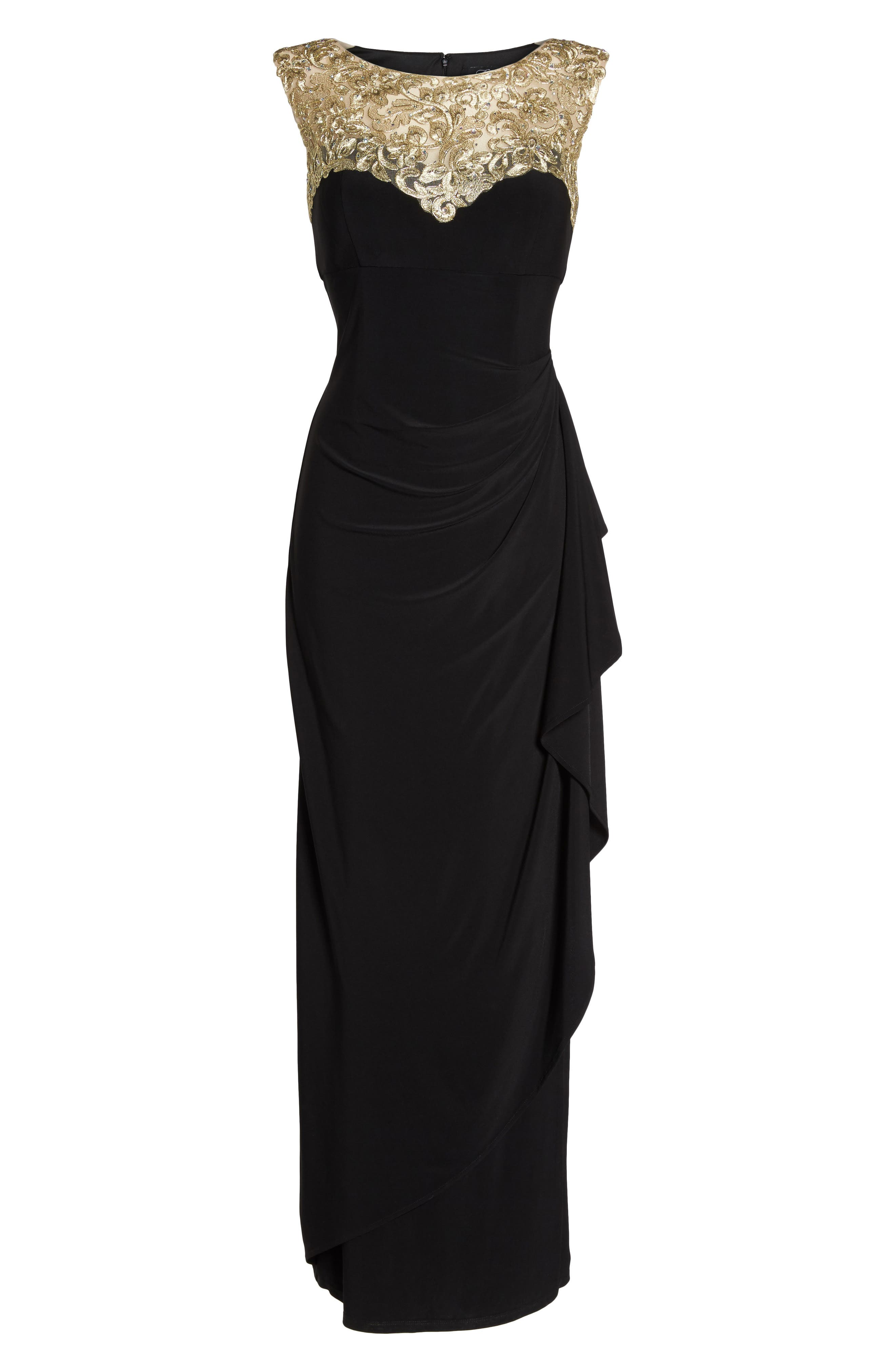Embroidered Side Ruched Gown,                             Alternate thumbnail 6, color,                             003