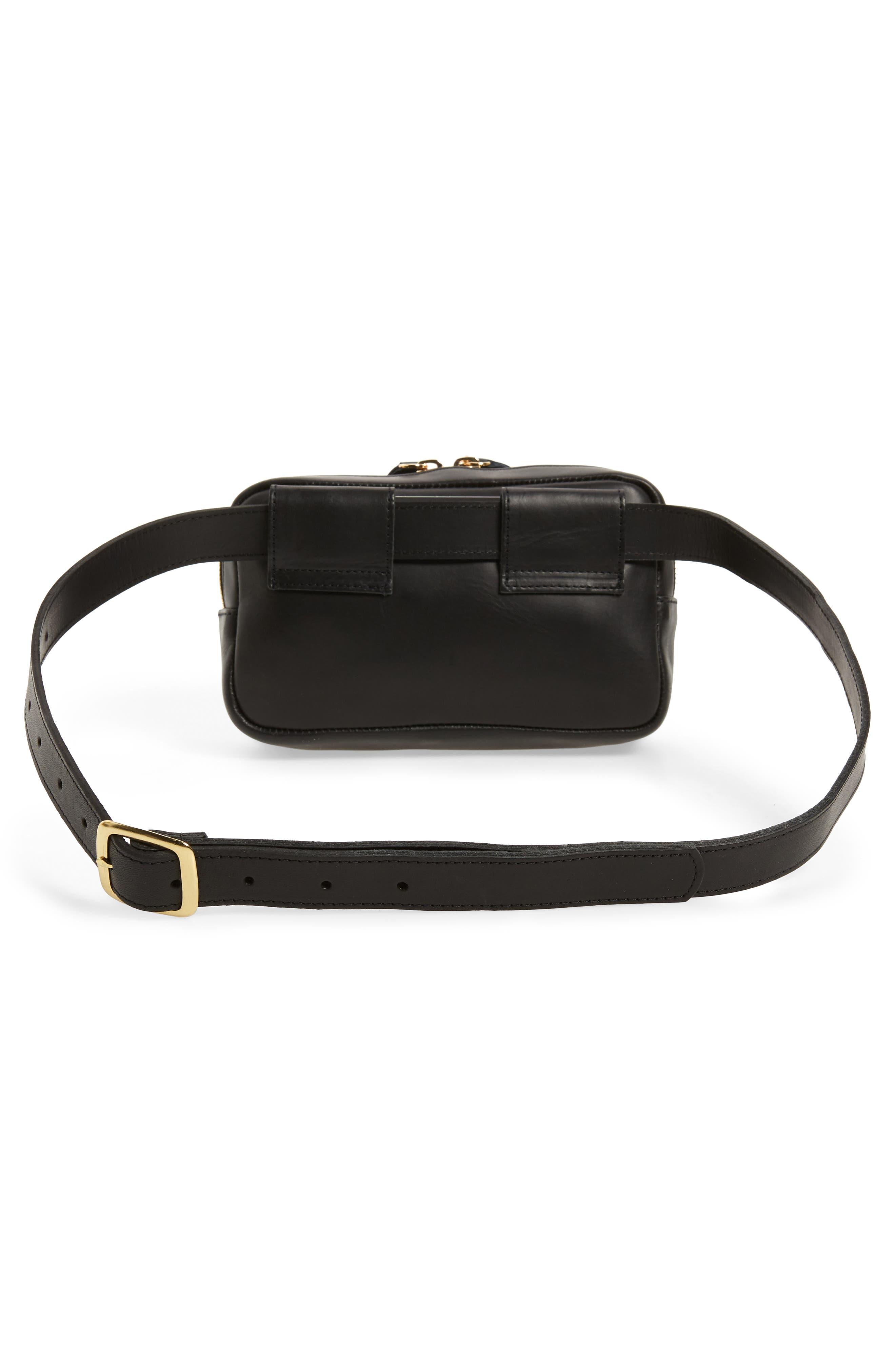 CLARE V.,                             Le Belt Leather Convertible Crossbody Bag,                             Alternate thumbnail 4, color,                             BLACK VEGAN