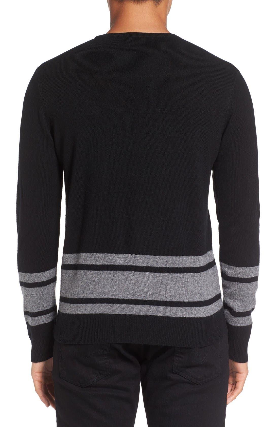 Stripe Wool Blend Sweater,                             Alternate thumbnail 4, color,