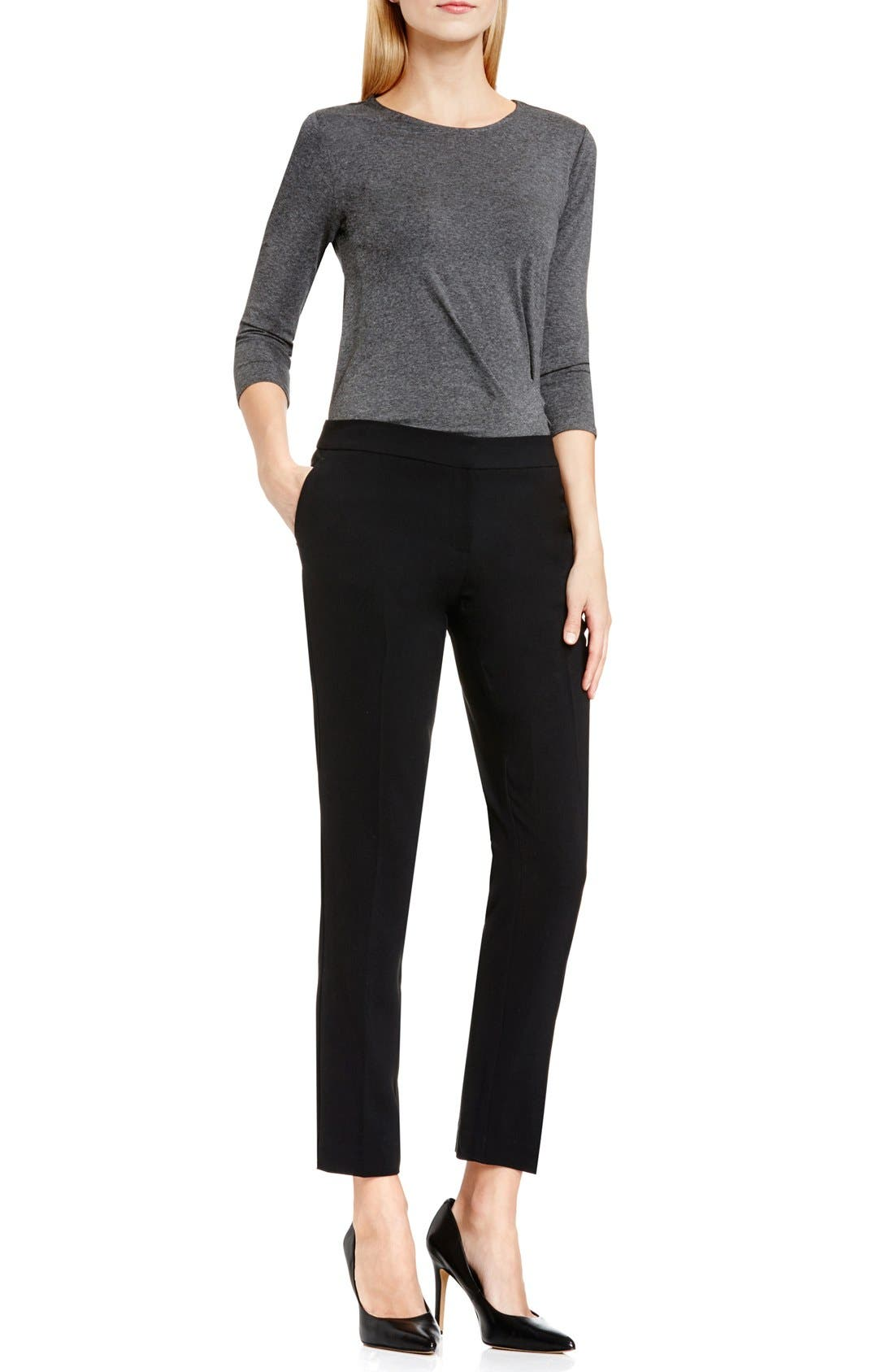 Textured Skinny Ankle Pants,                             Alternate thumbnail 8, color,                             RICH BLACK
