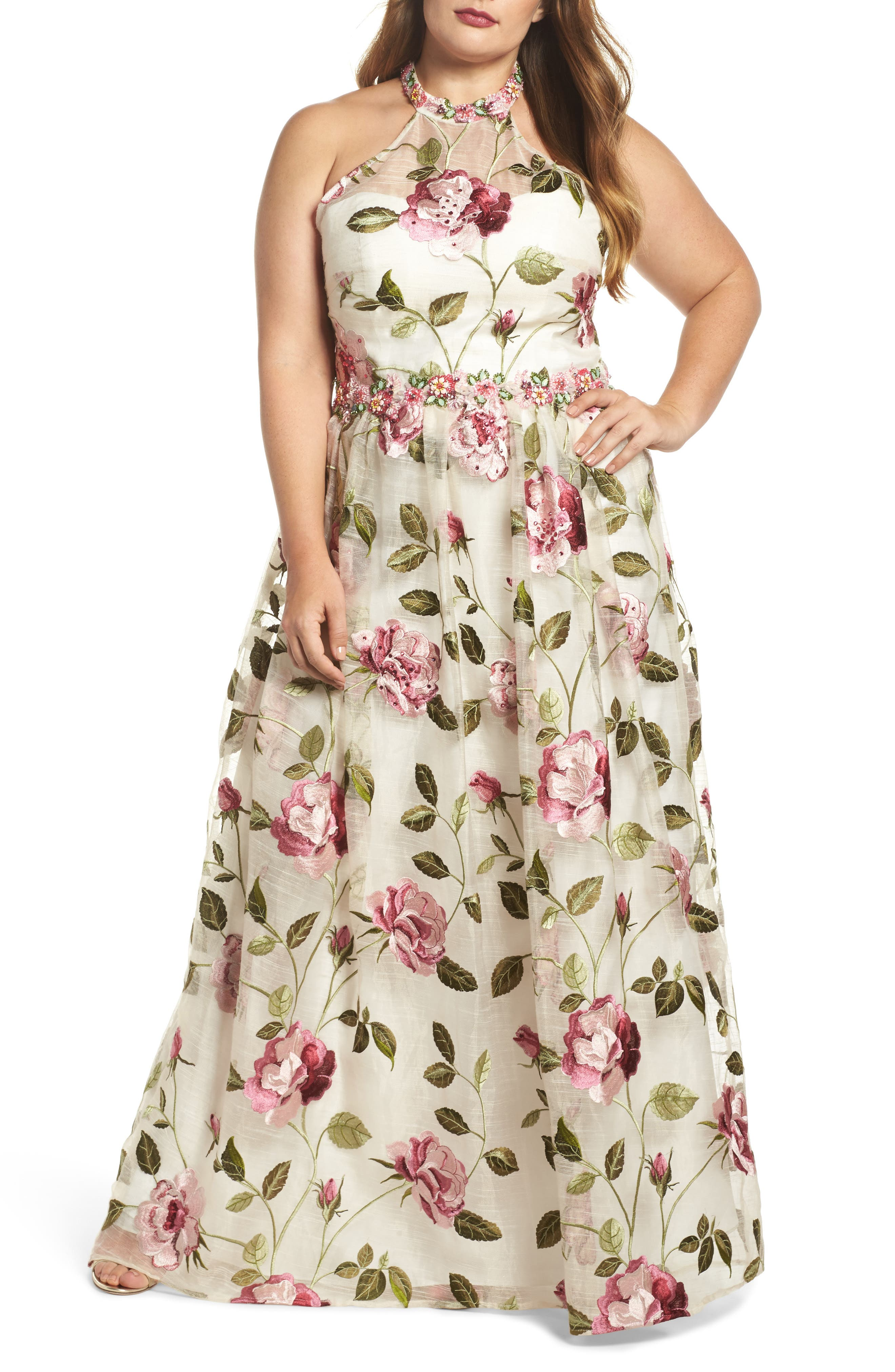 Floral Halter Gown,                         Main,                         color, IVORY FLORAL