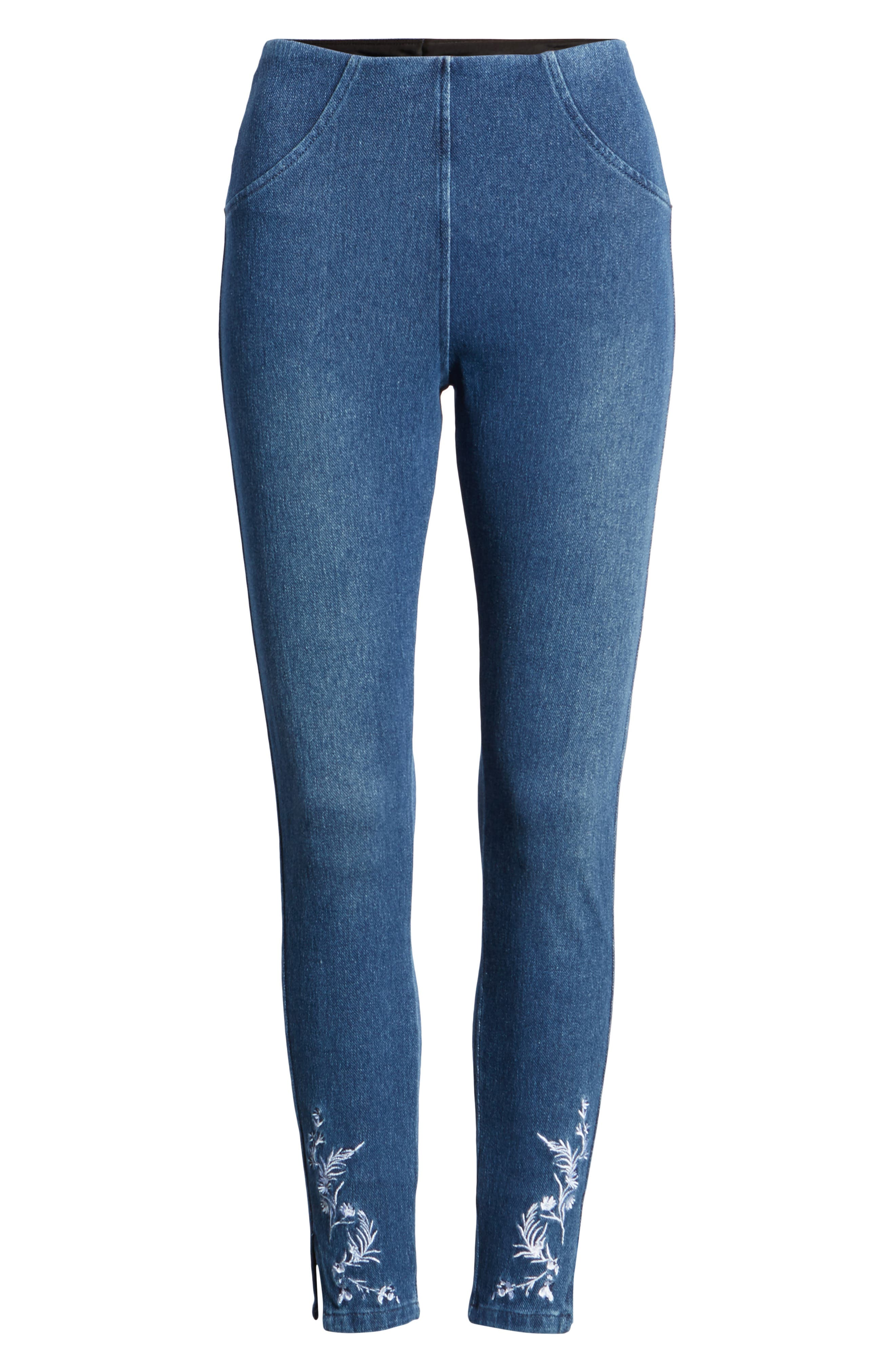 Cooper High Waist Denim Leggings,                             Alternate thumbnail 6, color,                             400
