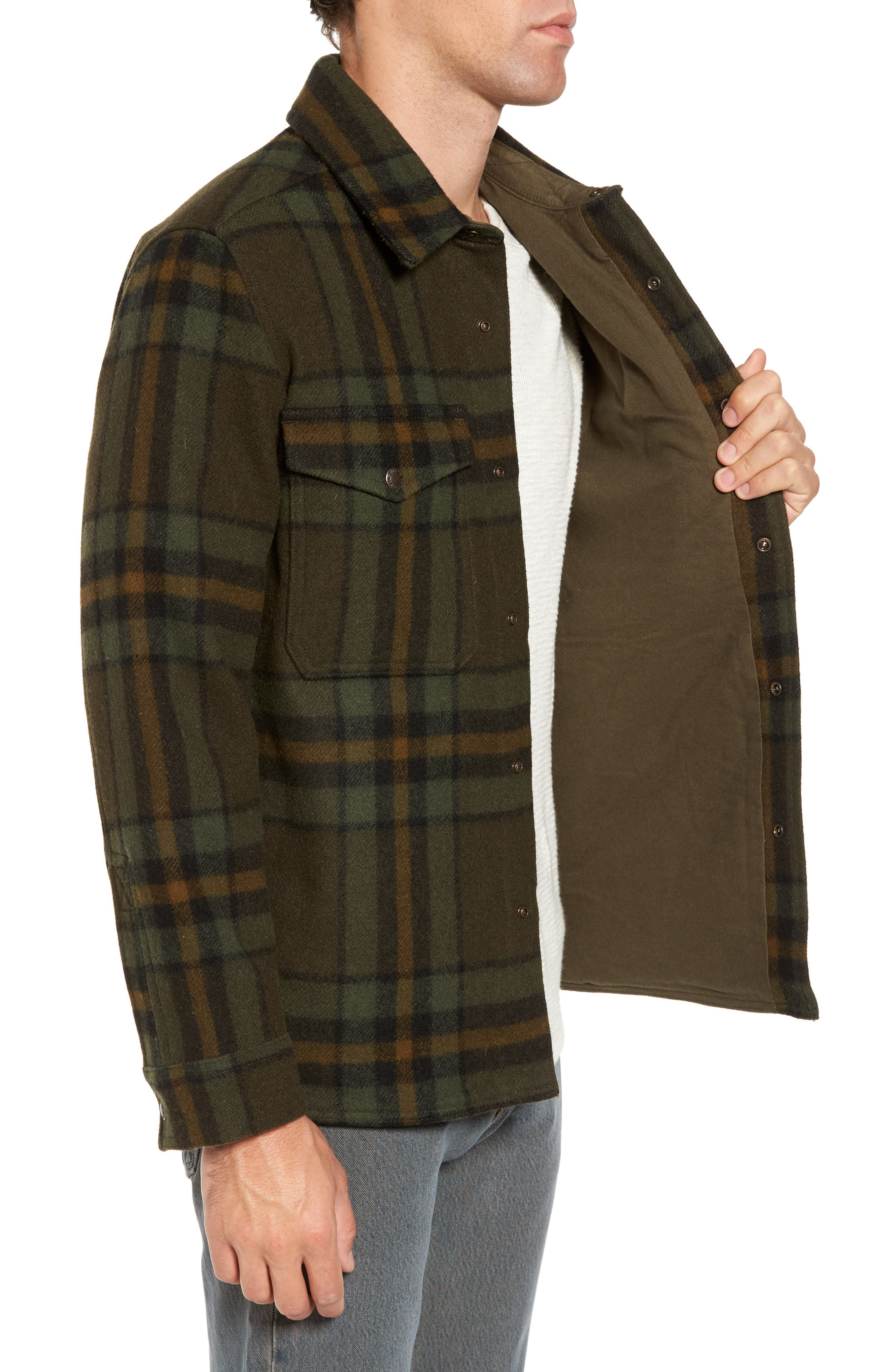 'Macinaw' Plaid Wool Flannel Shirt Jacket,                             Alternate thumbnail 5, color,