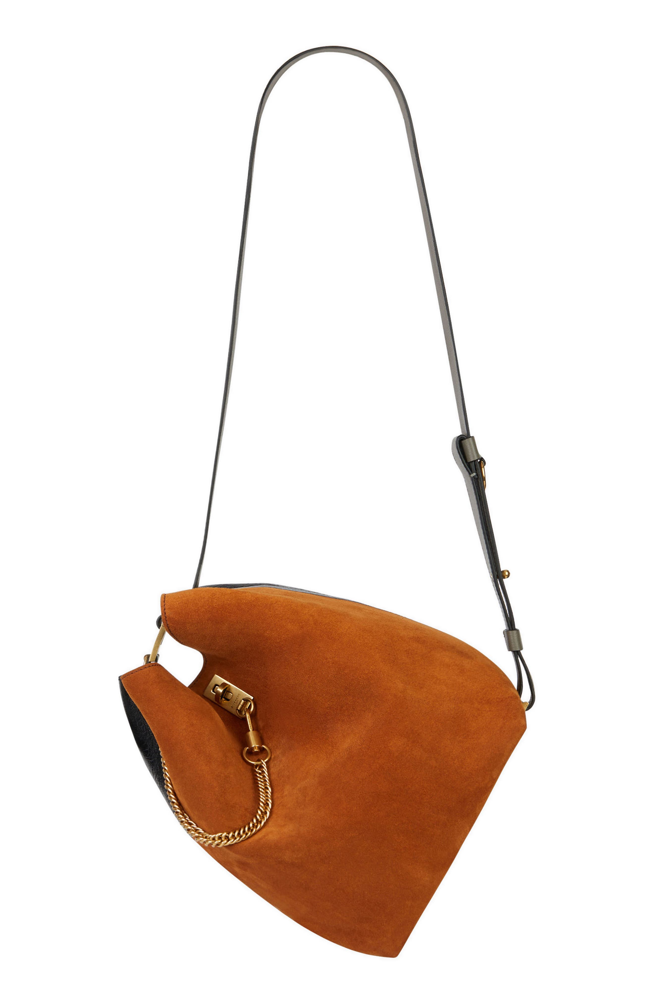 Medium GV Lambskin Bucket Bag,                             Alternate thumbnail 8, color,                             BLACK/ CHESTNUT
