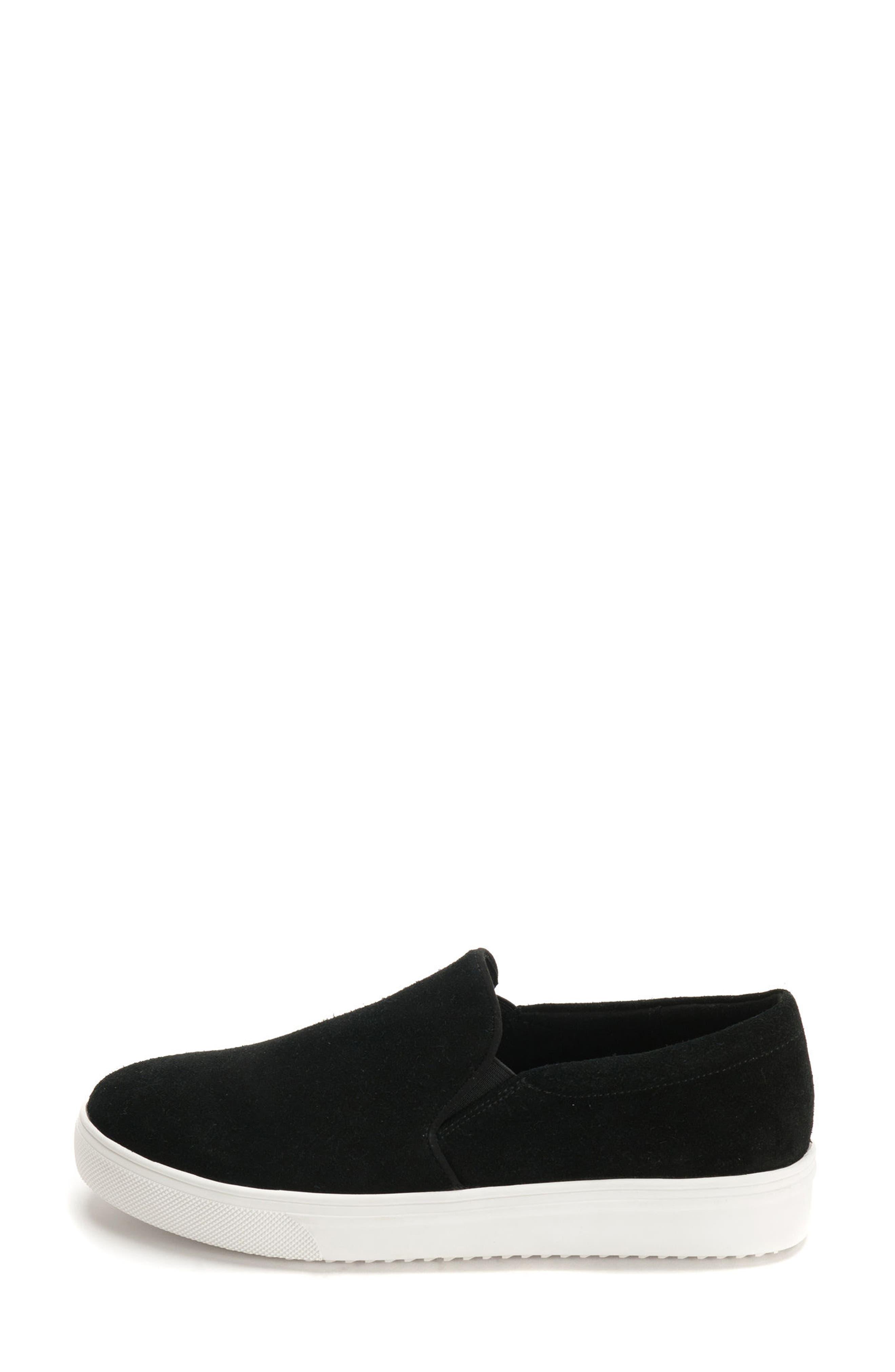 Gracie Waterproof Slip-On Sneaker,                             Alternate thumbnail 3, color,                             BLACK SUEDE