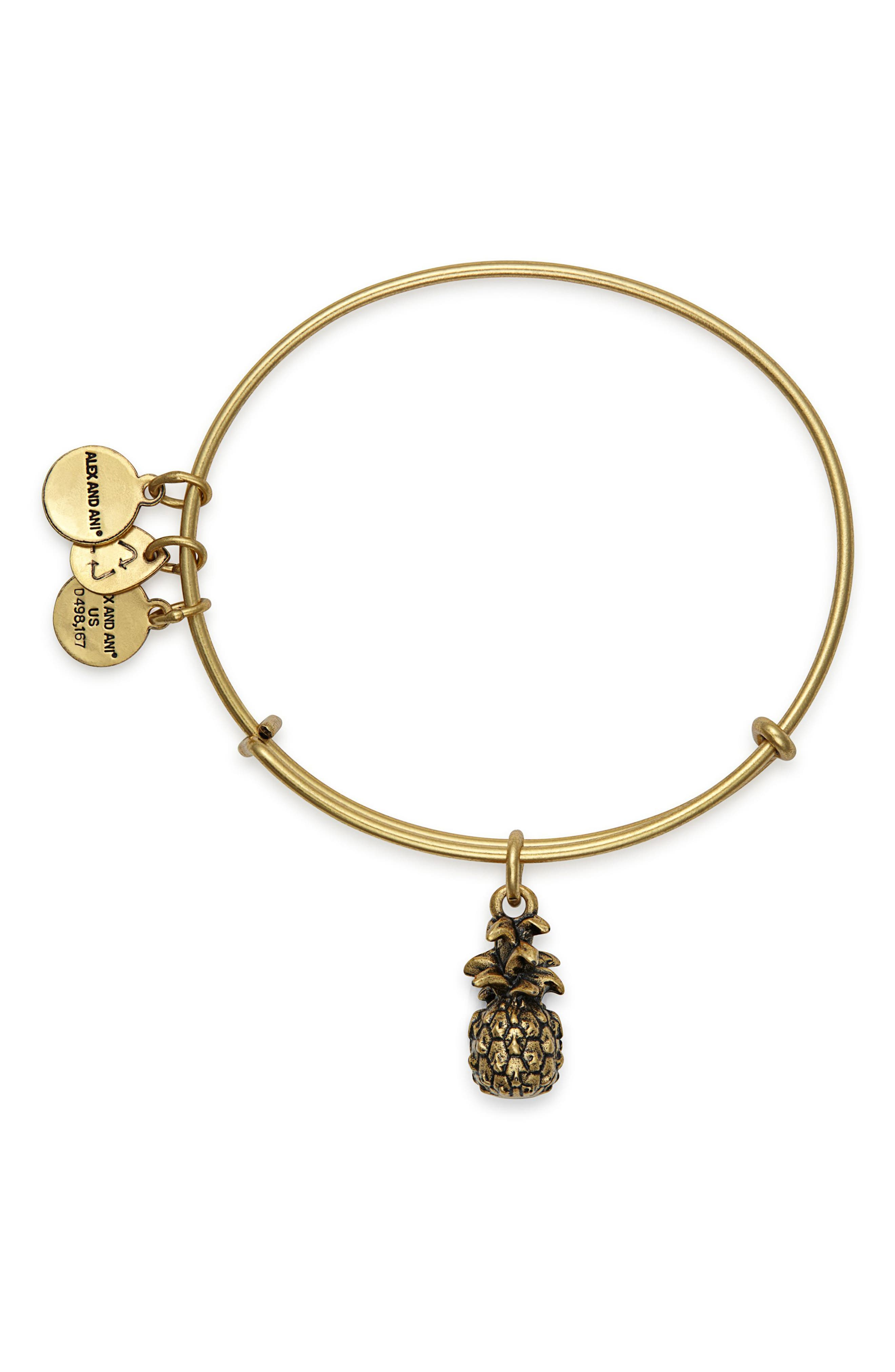 Pineapple Adjustable Wire Bangle,                             Alternate thumbnail 2, color,                             RUSSIAN GOLD