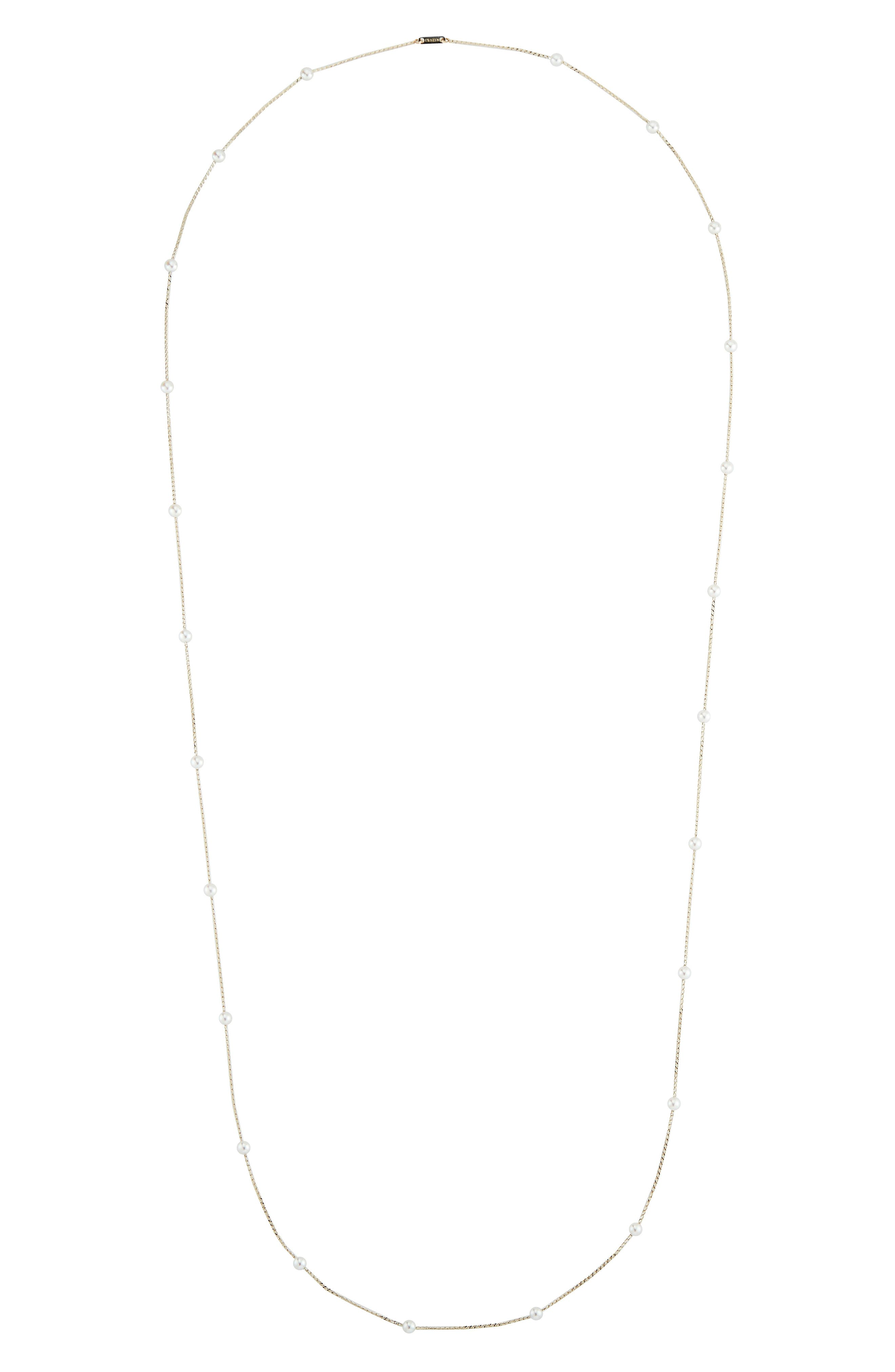 Long Pearl Station Necklace,                         Main,                         color, YELLOW GOLD/ PEARL