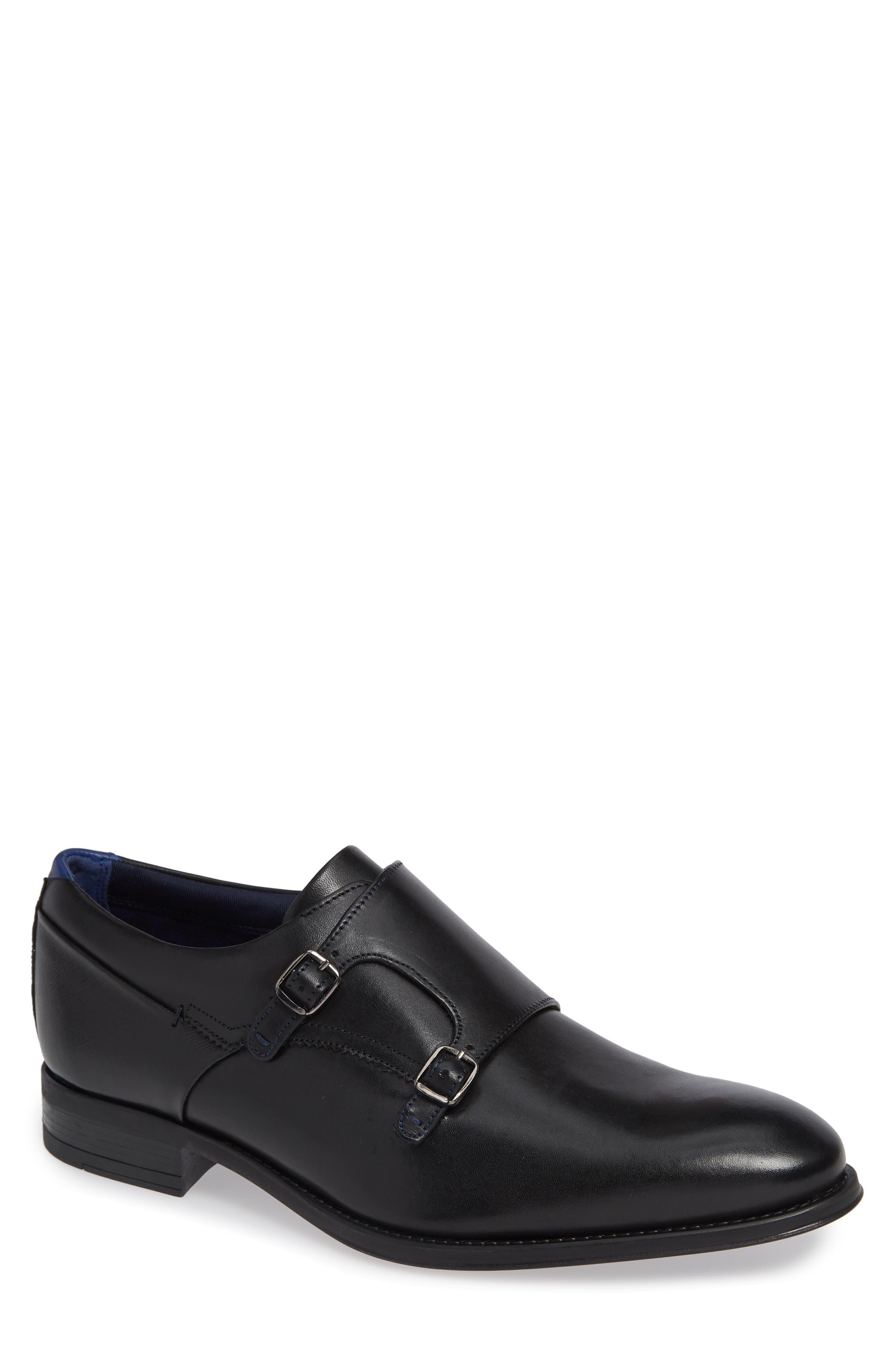 Cathon Double Buckle Monk Shoe,                         Main,                         color, BLACK LEATHER