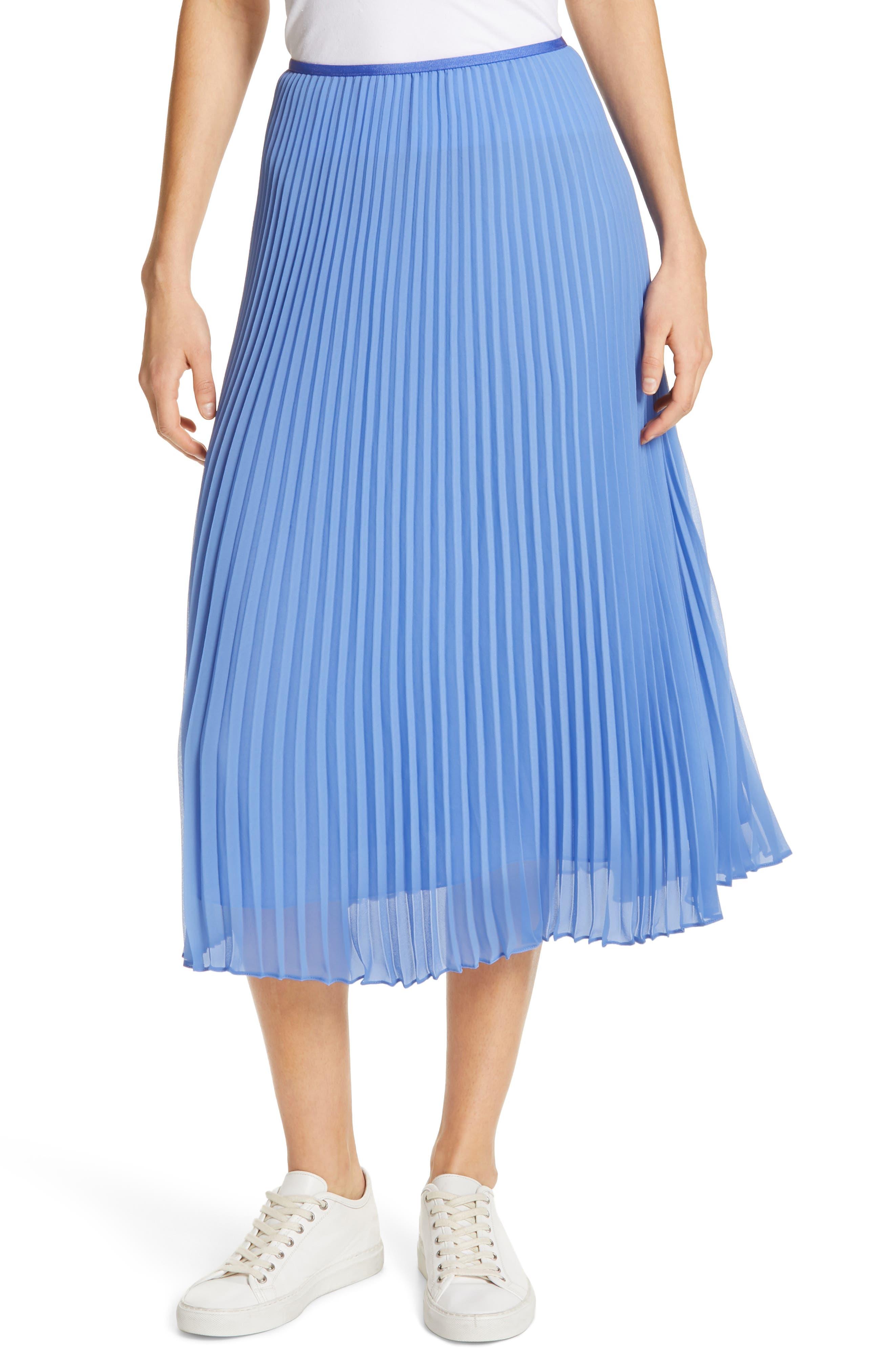 Pleat Midi Skirt,                         Main,                         color, BERMUDA BLUE