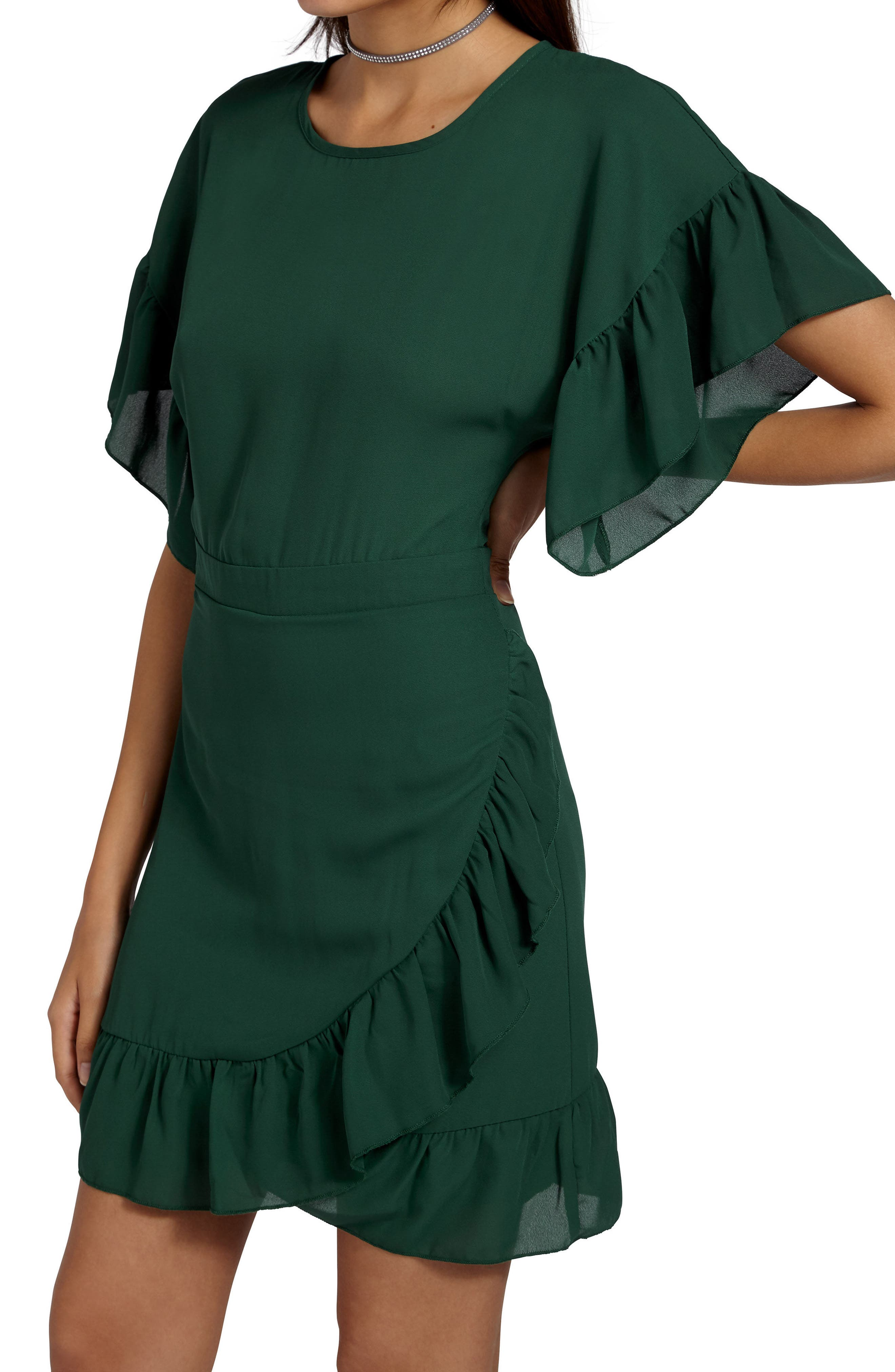 Ruffle Chiffon Sheath Dress,                             Alternate thumbnail 4, color,                             300