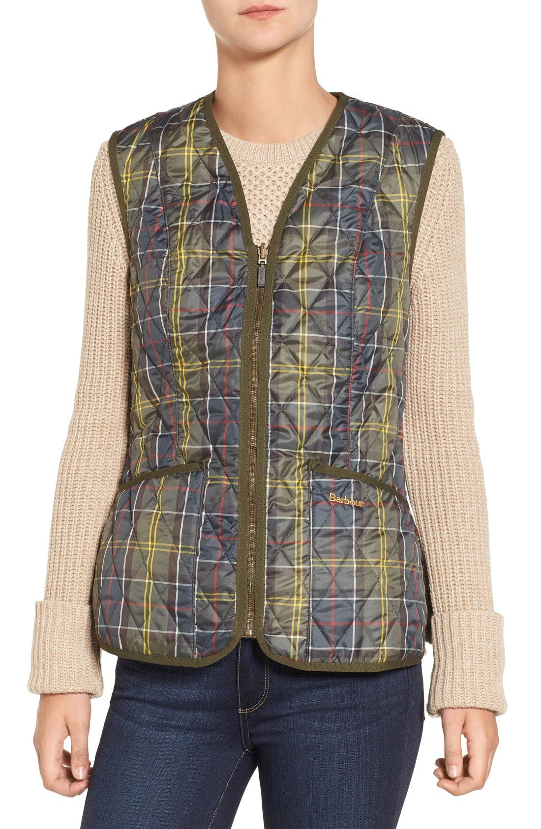 'Betty' Tartan Print Quilted Liner,                             Main thumbnail 1, color,                             362