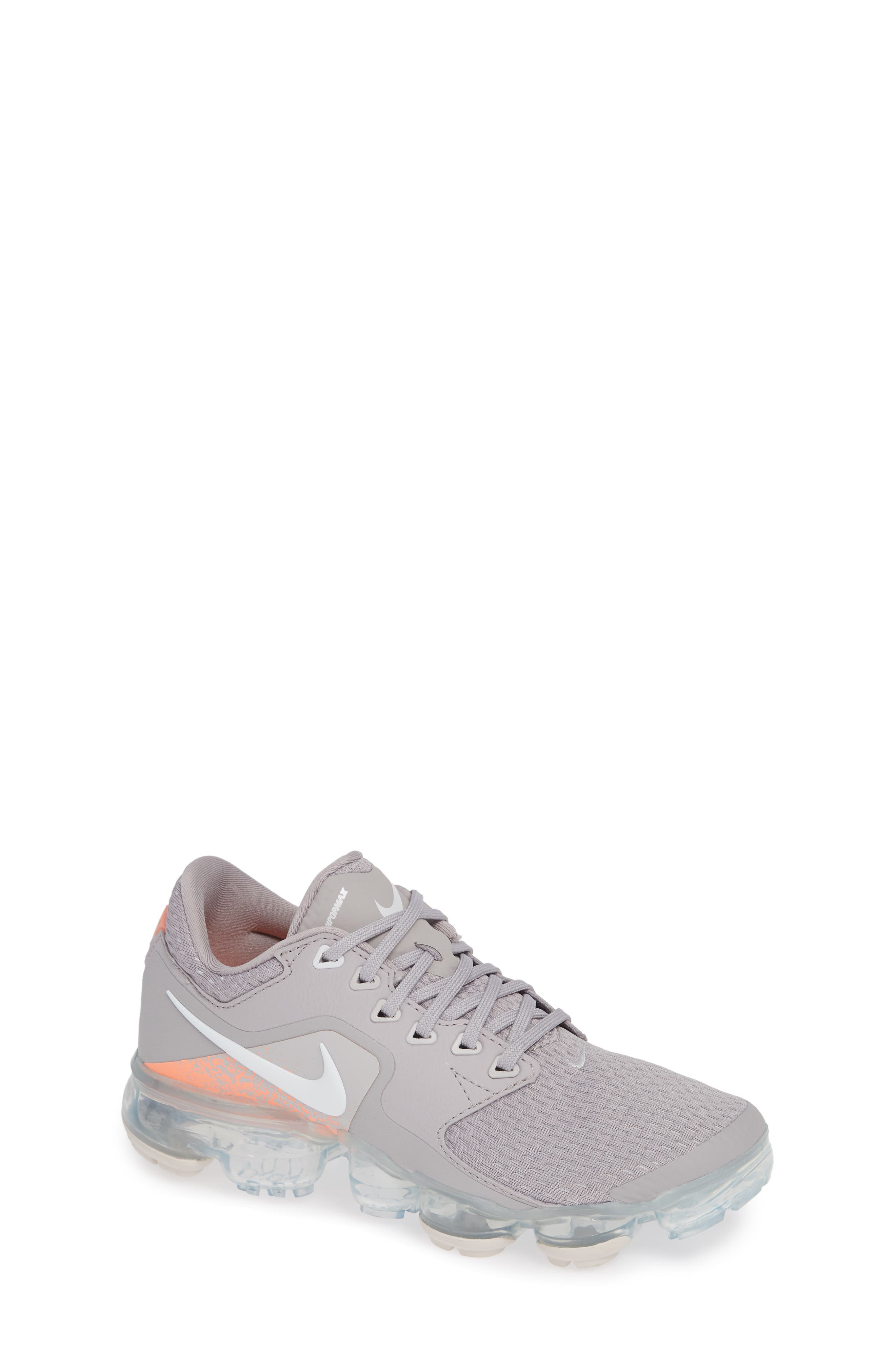 Air VaporMax GS Running Shoe,                         Main,                         color, ATMOSPHERE GREY/ WHITE