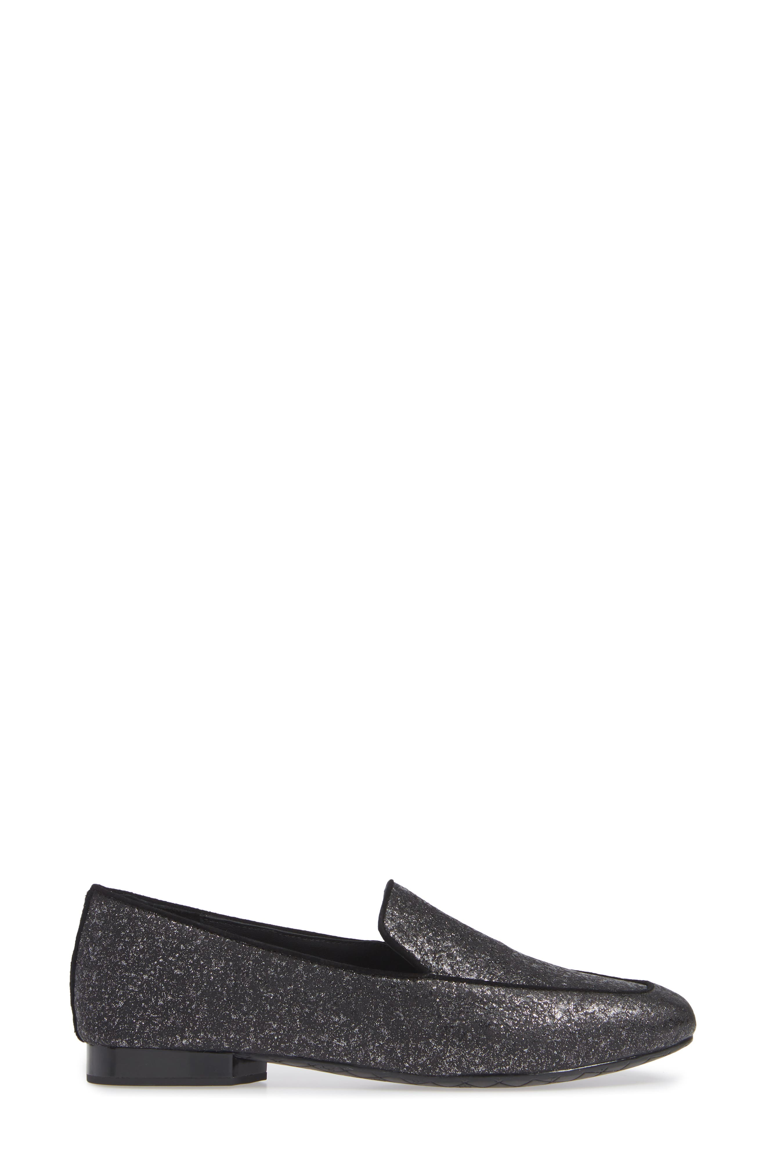 Heddy Loafer,                             Alternate thumbnail 3, color,                             SILVER GLITTER SUEDE