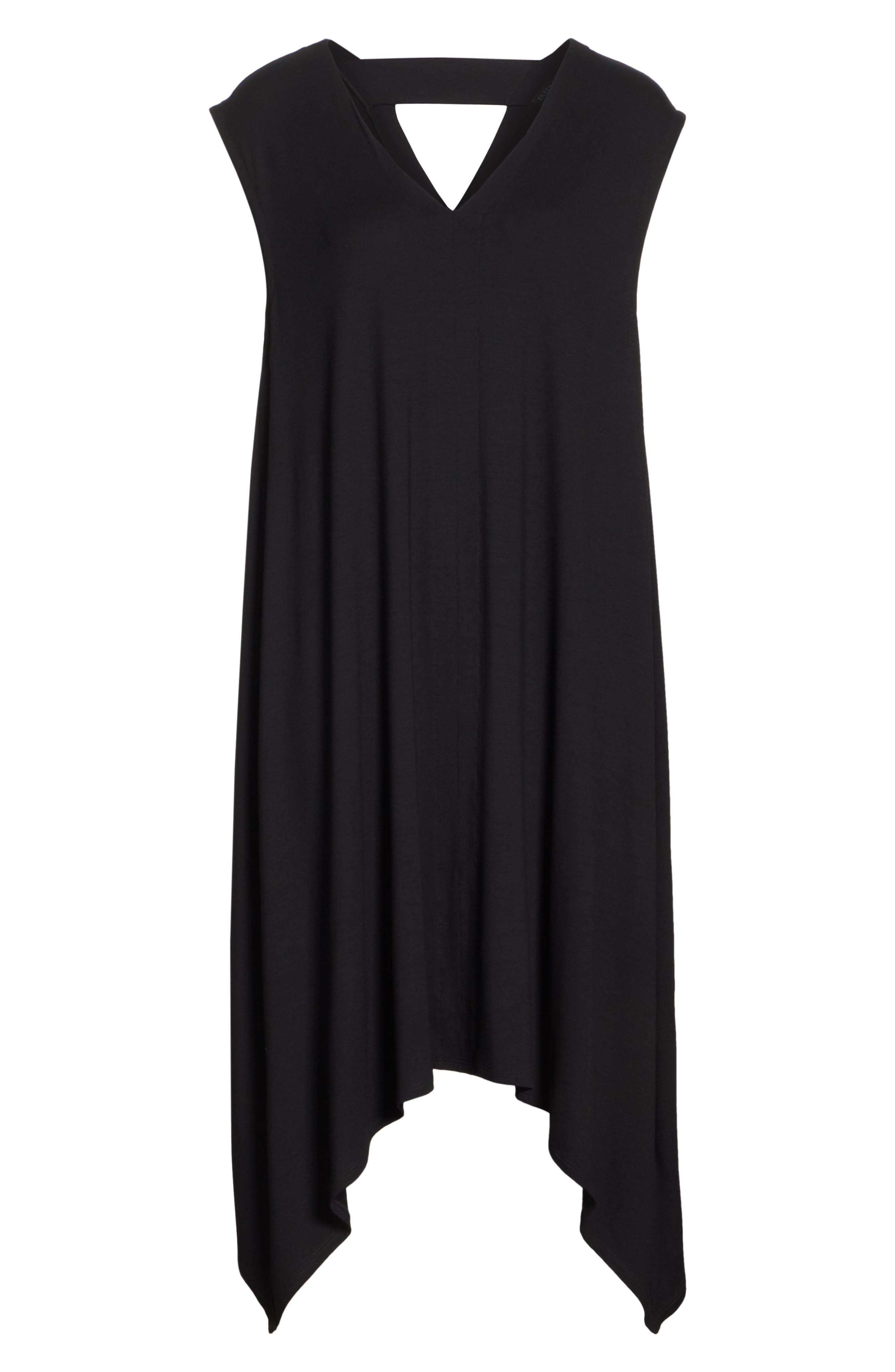 Cutout Jersey Shift Dress,                             Alternate thumbnail 7, color,                             BLACK