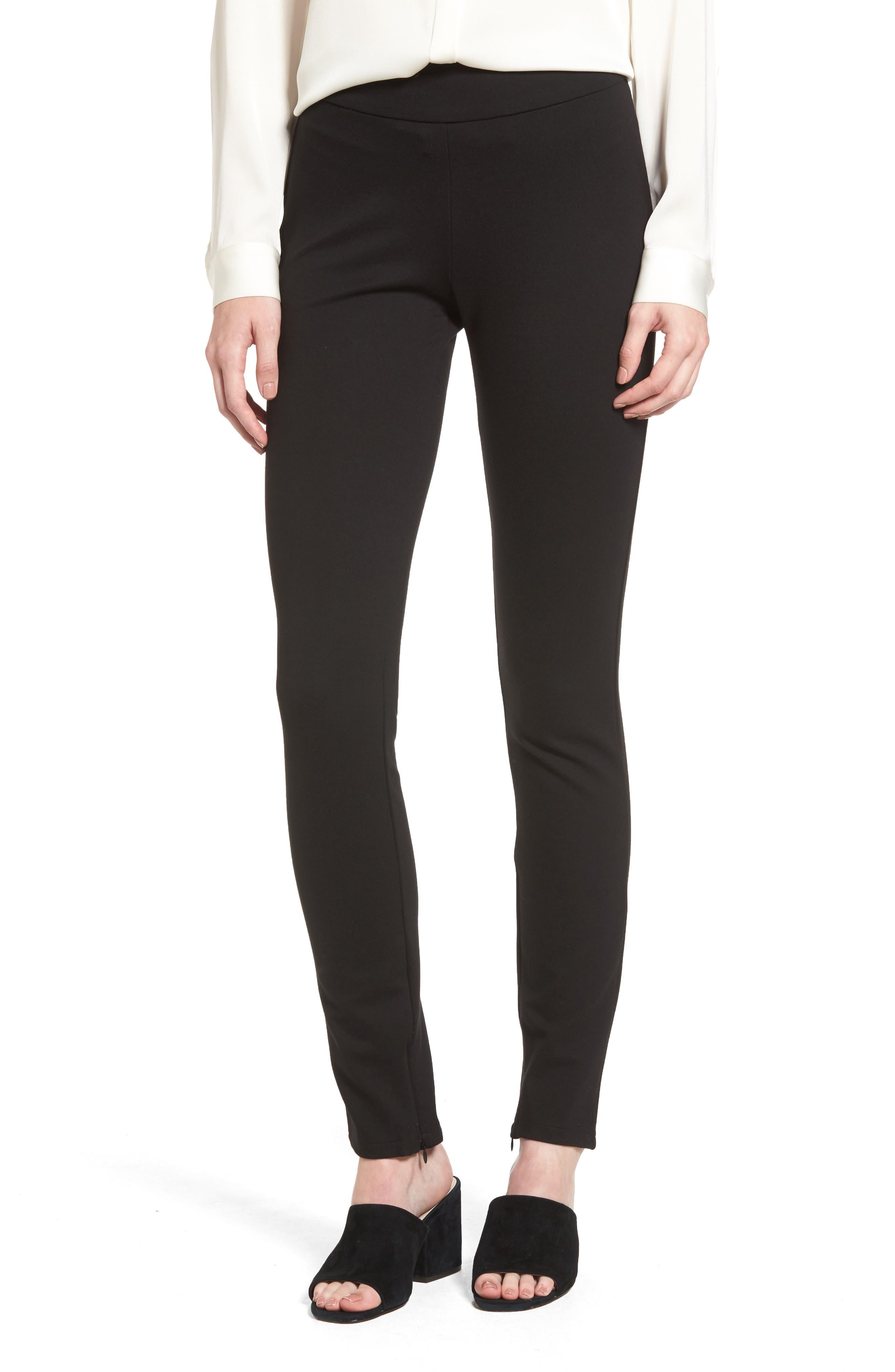 Ankle Zip Slim Ponte Pants,                         Main,                         color,