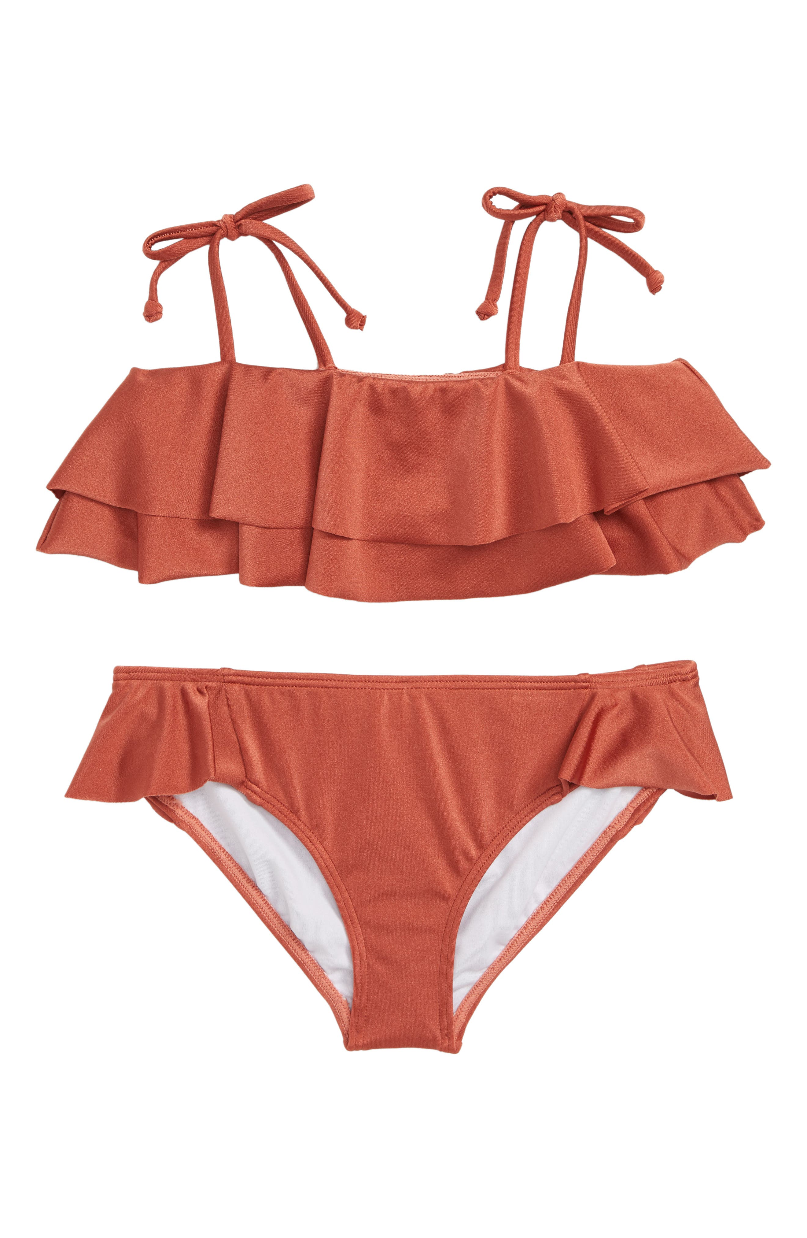 Shine Ruffle Two-Piece Swimsuit,                         Main,                         color, SIENNA