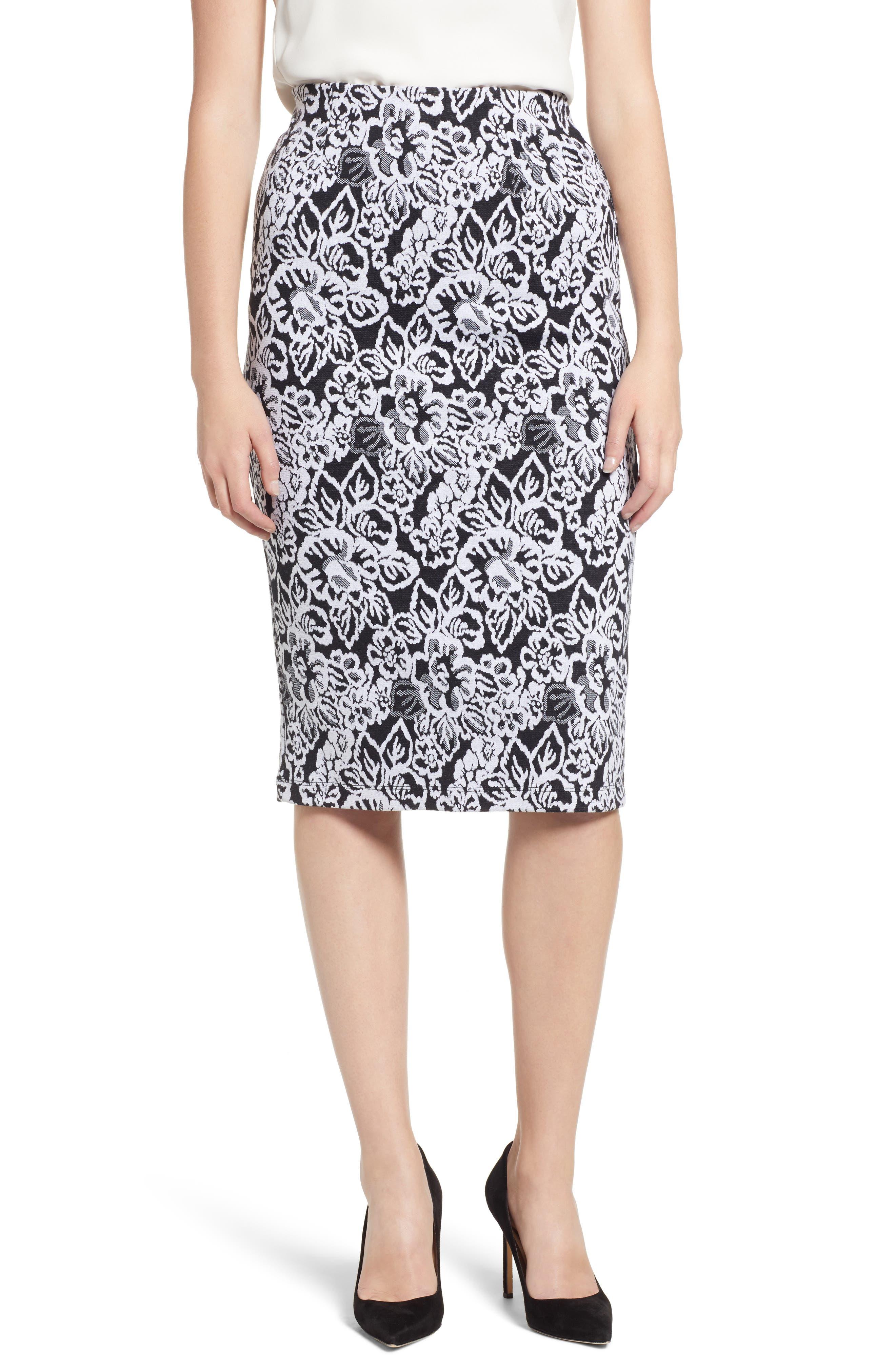 Everleigh Double Knit Pencil Skirt, Black