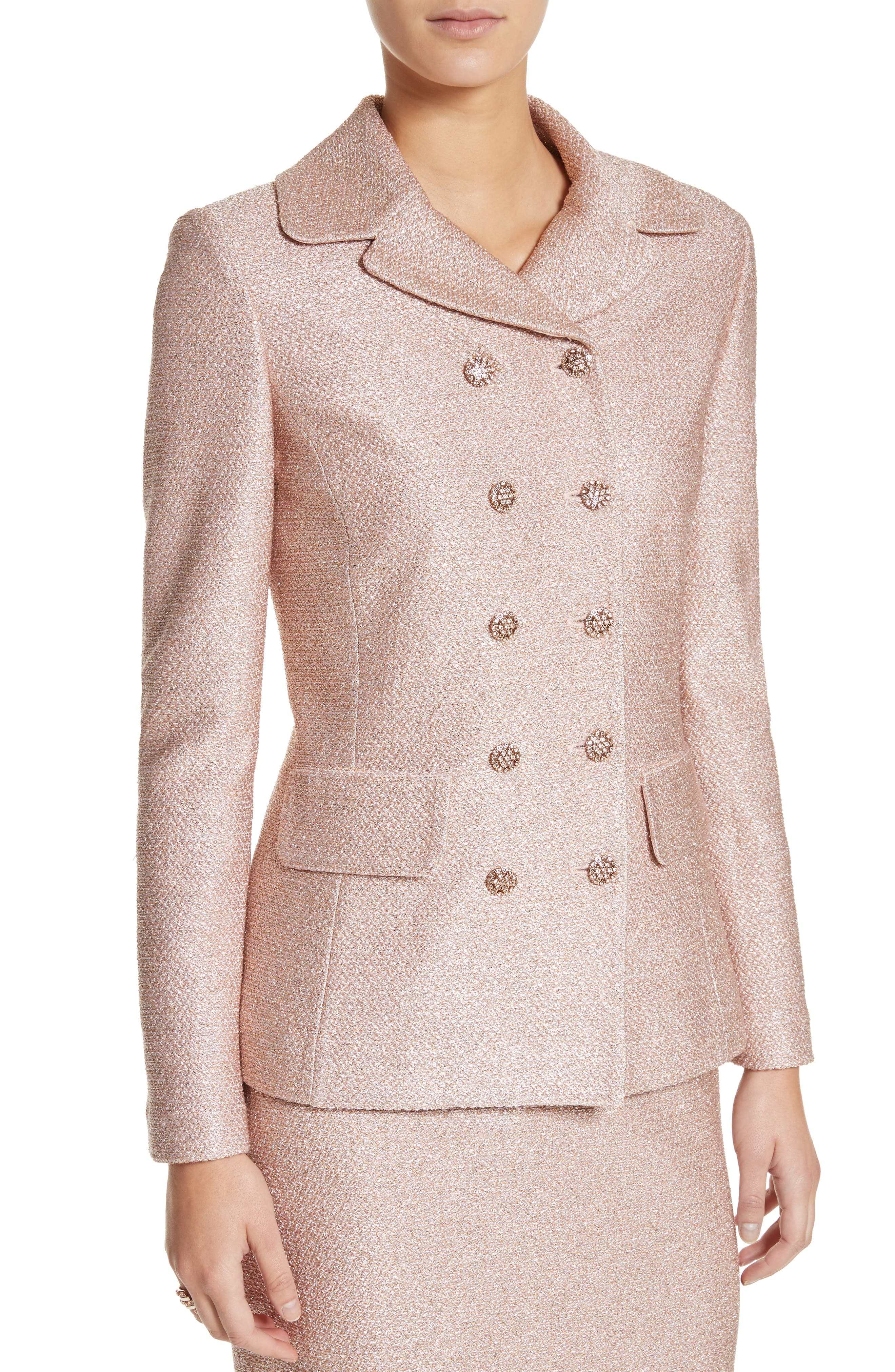 Double Breasted Frosted Metallic Knit Jacket,                             Alternate thumbnail 4, color,                             660