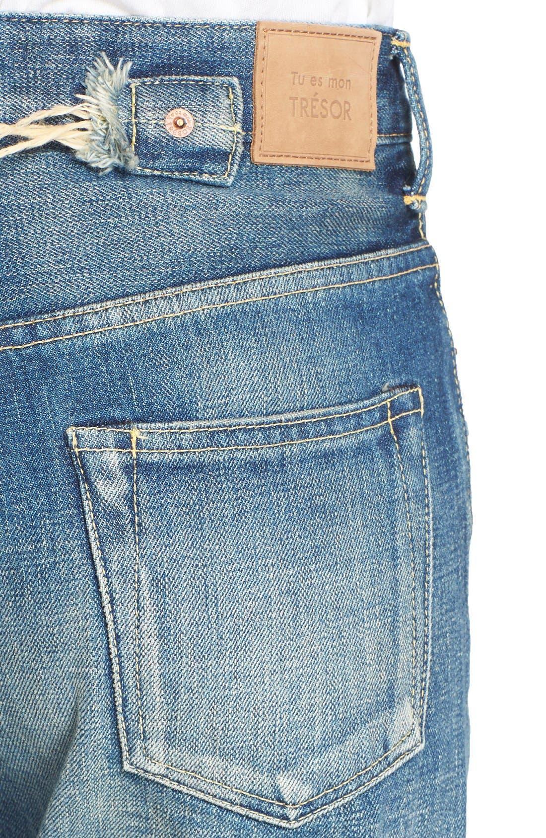 Imitation Pearl Embellished Jeans,                             Alternate thumbnail 6, color,                             101