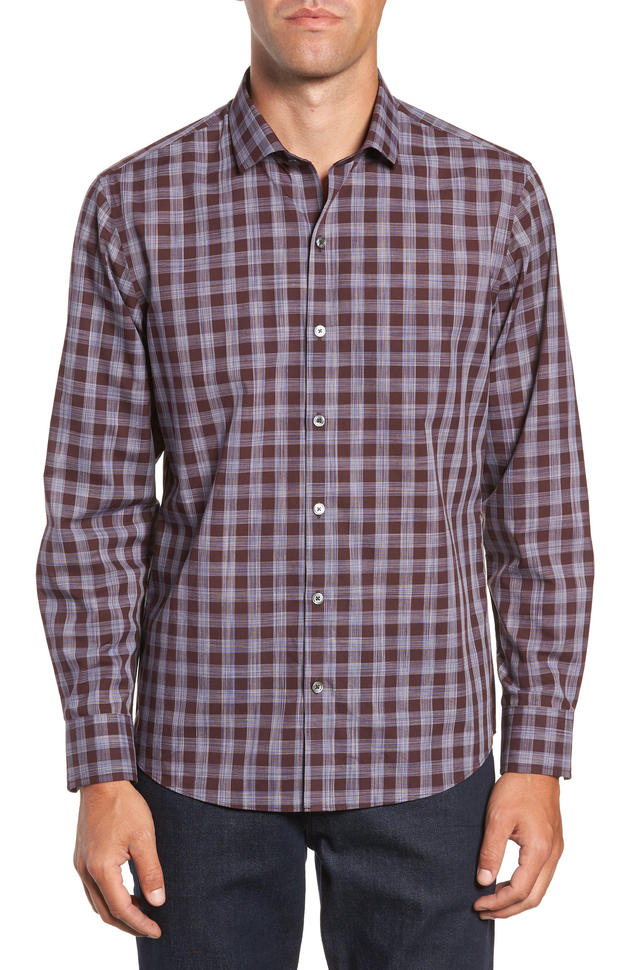 Luca Regular Fit Check Sport Shirt,                         Main,                         color, BURGUNDY