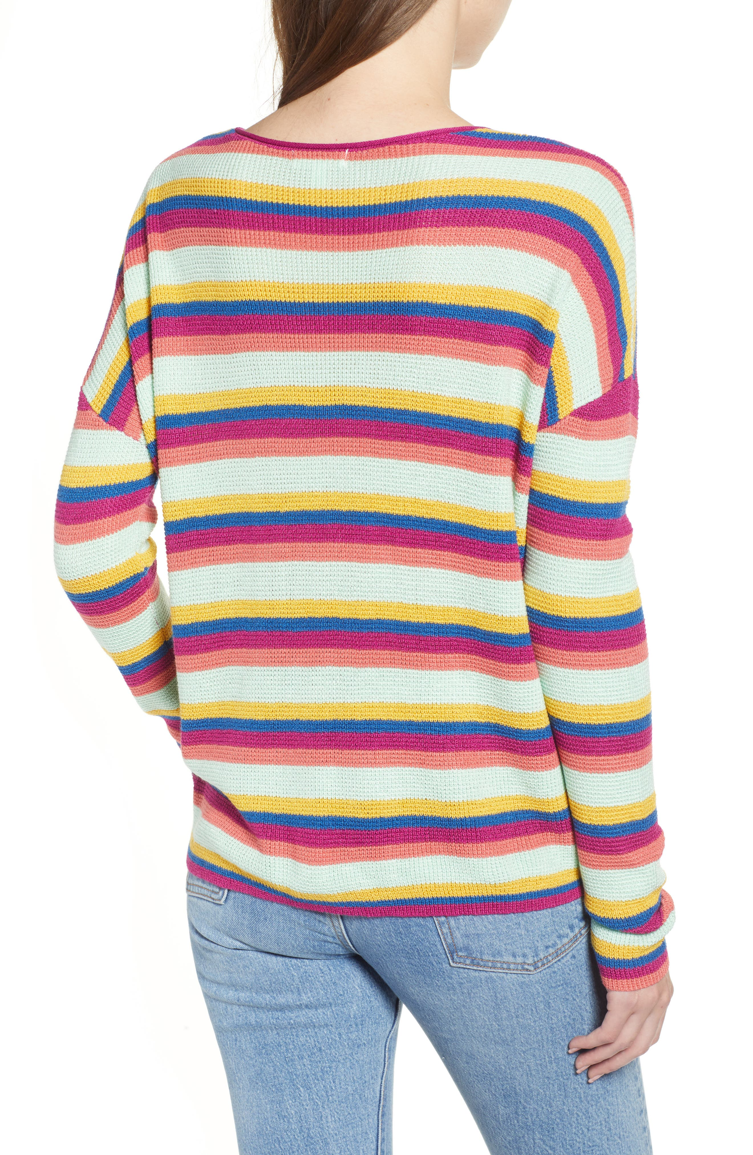 BP.,                             Stripe Thermal Stitch Sweater,                             Alternate thumbnail 3, color,                             PINK YARROW EMMA STRIPE