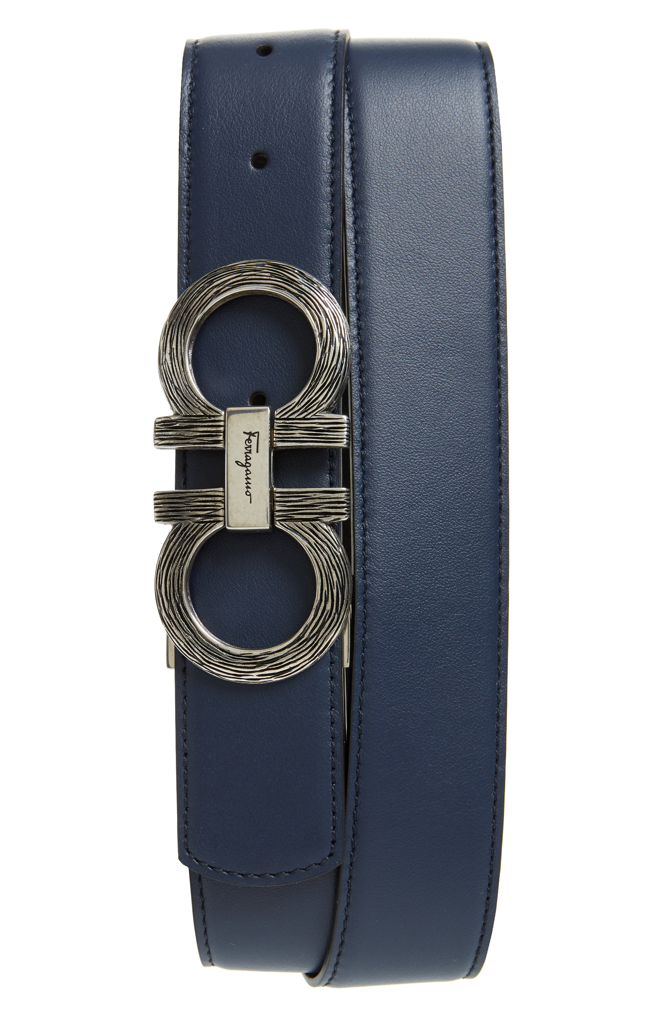 Etched Double Gancio Reversible Leather Belt,                         Main,                         color, BLUE MARINE/ BLACK