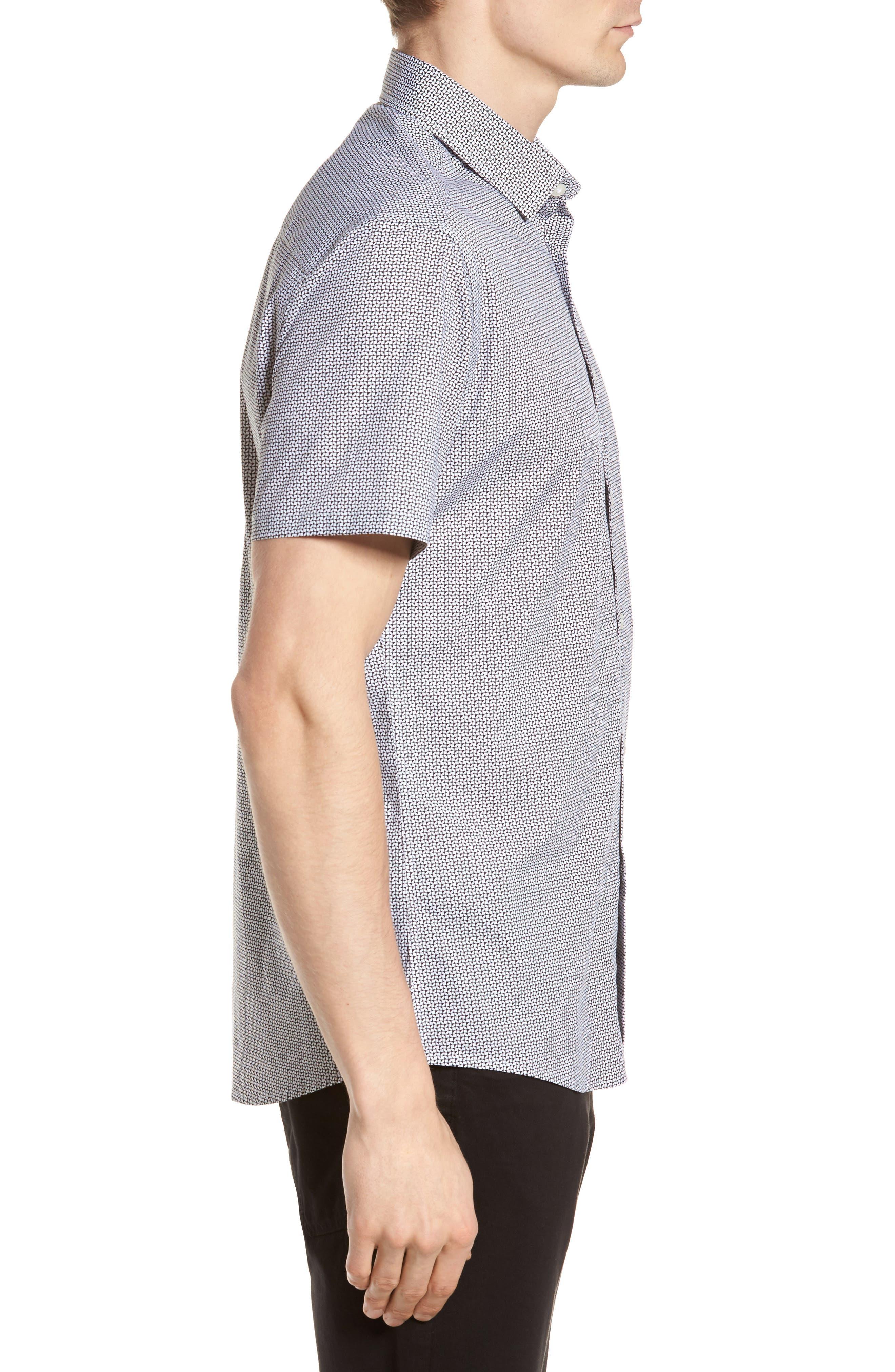 Slim Fit Geo Print Sport Shirt,                             Alternate thumbnail 3, color,                             007