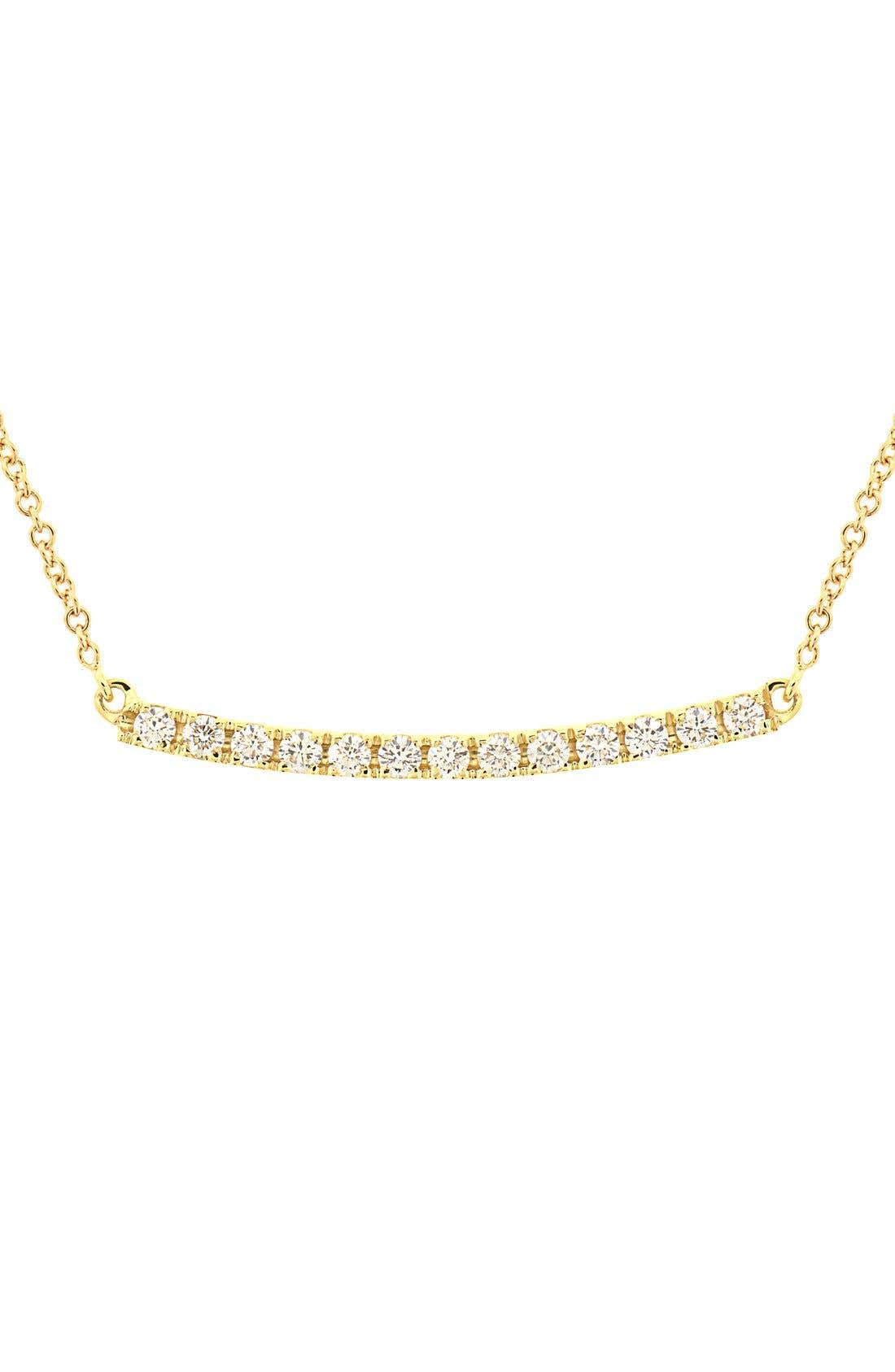 Stick Pavé Diamond Bar Necklace,                         Main,                         color, YELLOW GOLD