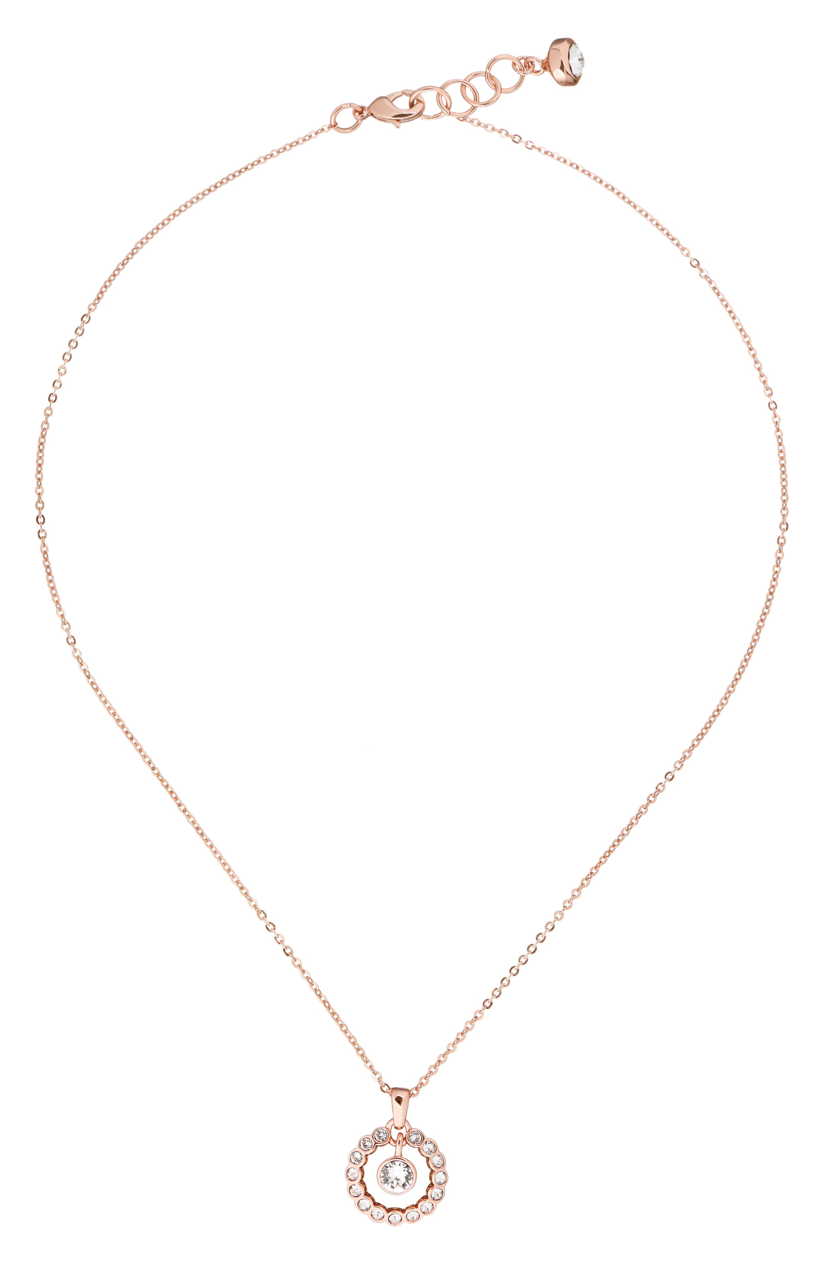 Crystal Circle Pendant Necklace,                             Main thumbnail 1, color,