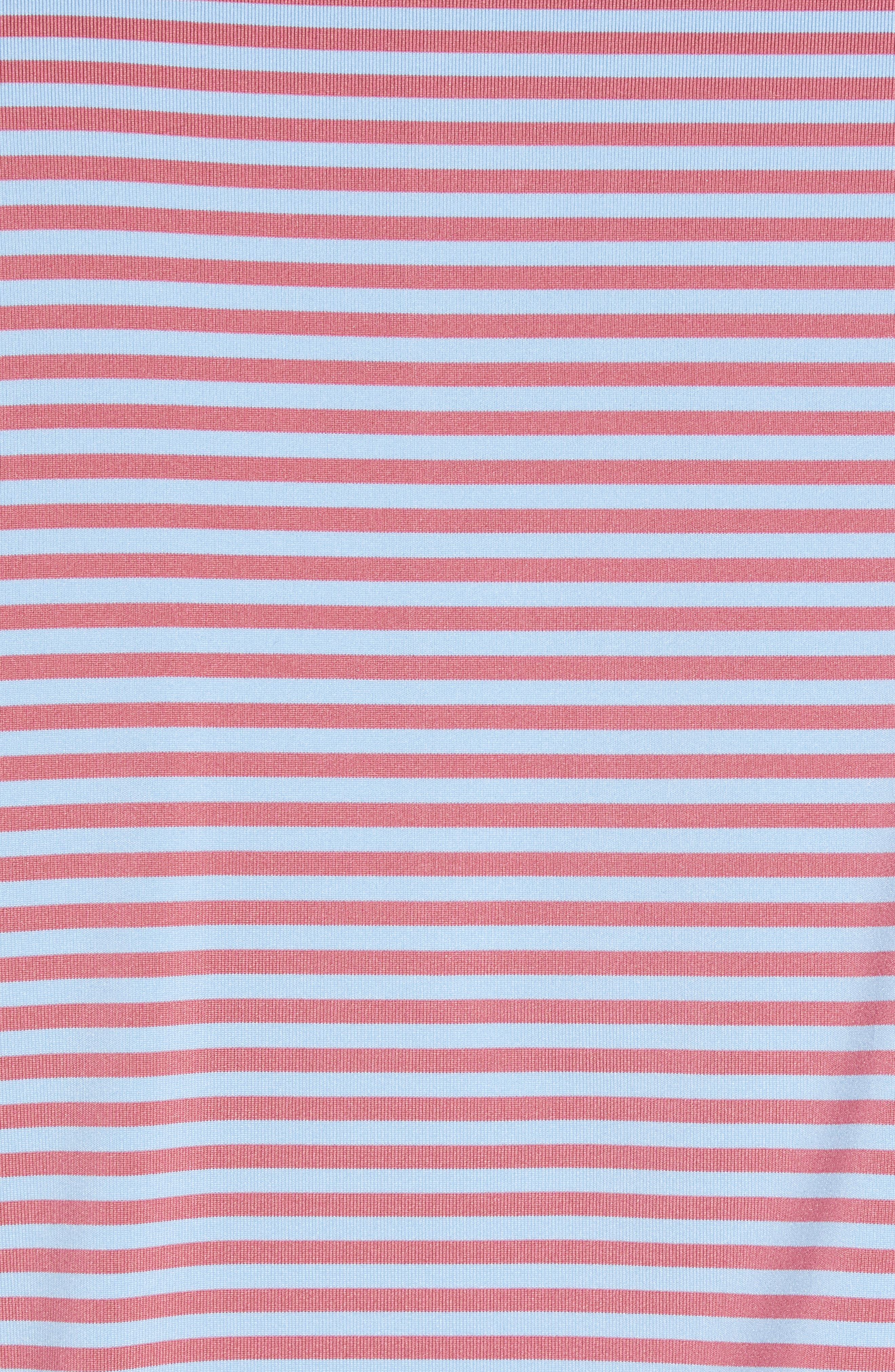 Competition Stripe Performance Polo,                             Alternate thumbnail 5, color,                             RADISH/ COTTAGE BLUE