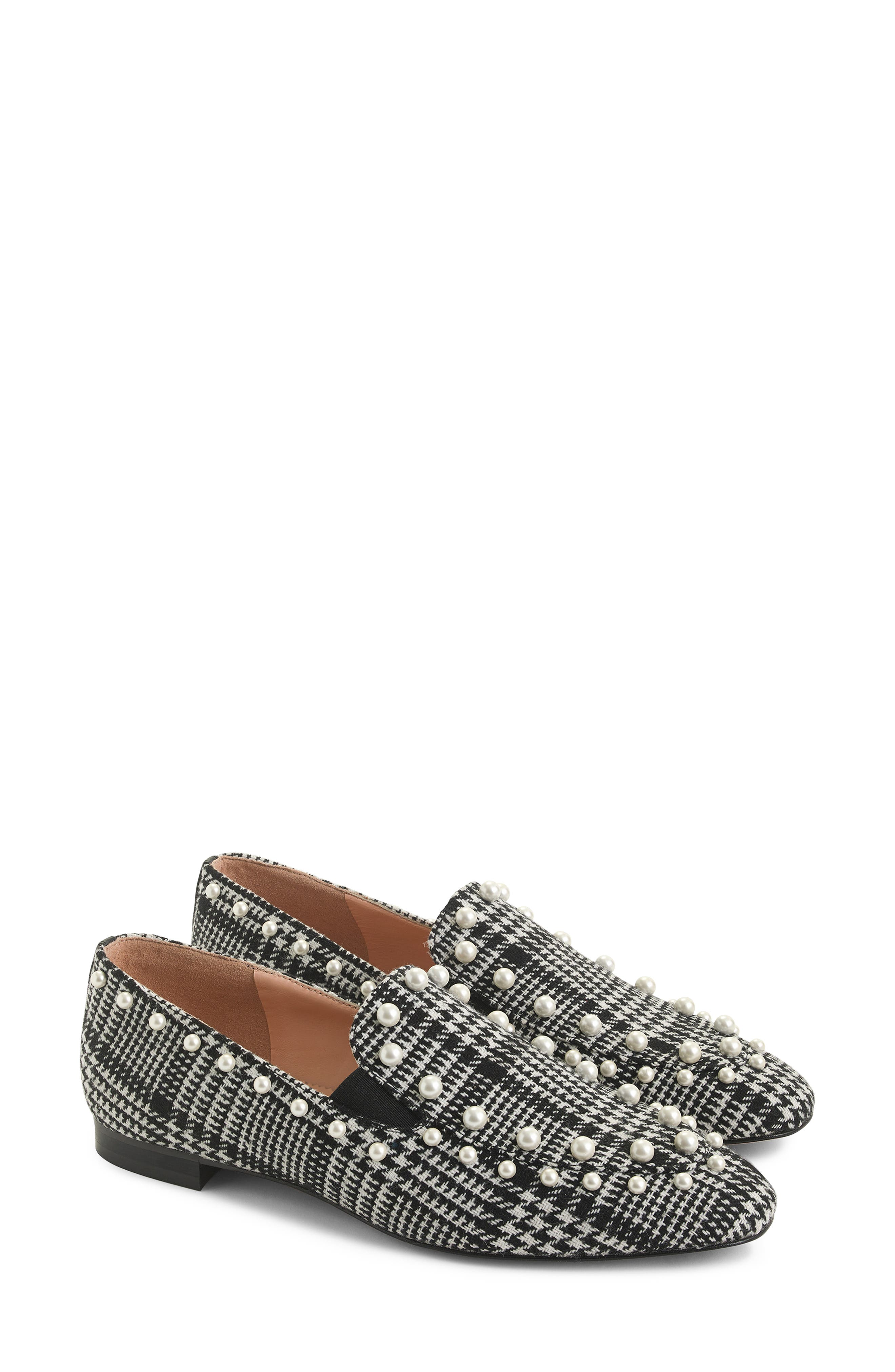 J. Crew Pearl Studded Loafers in Glen Plaid, Main, color, BLACK/ IVORY GLEN PLAID FABRIC