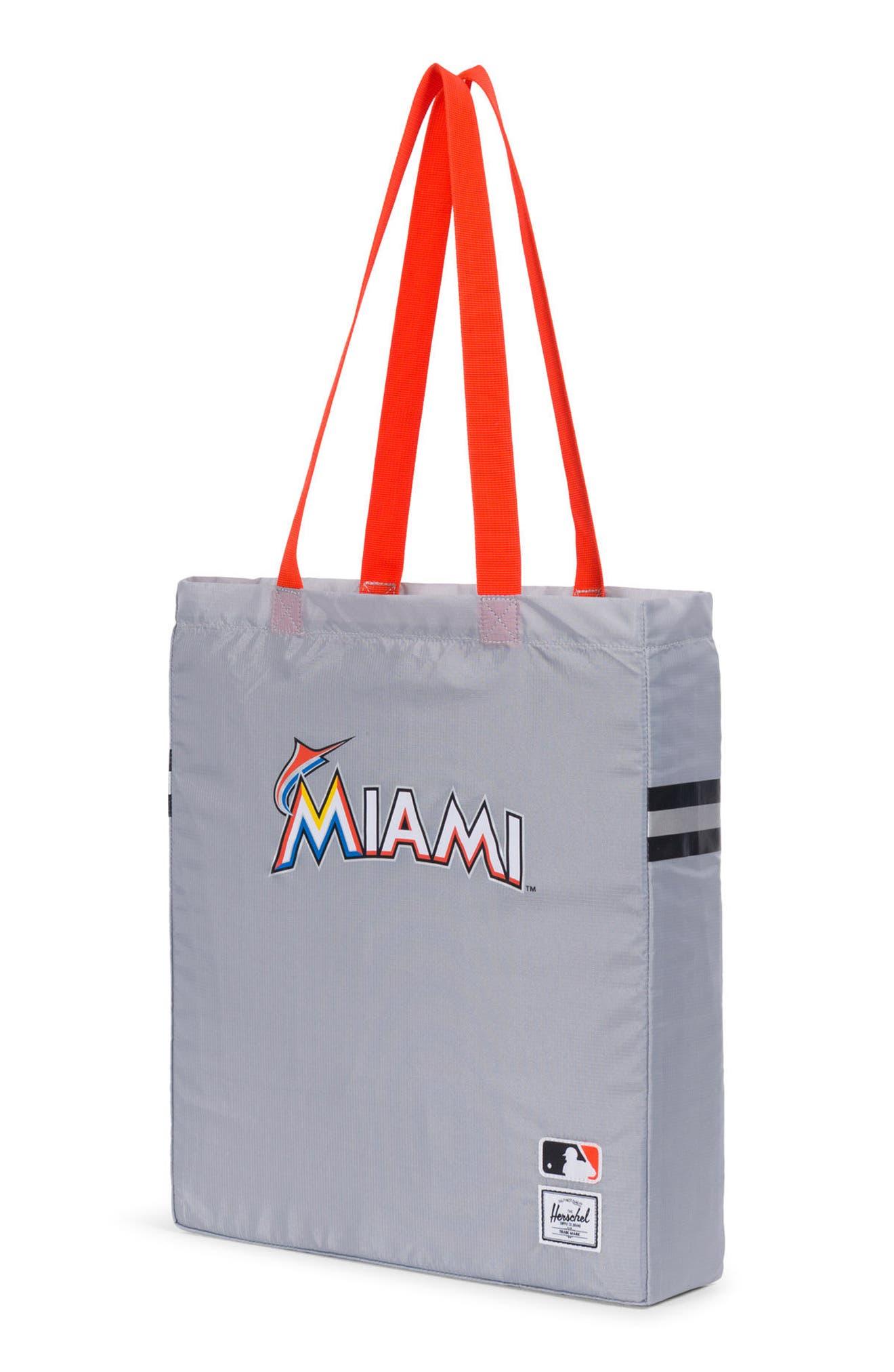 Packable - MLB National League Tote Bag,                             Alternate thumbnail 3, color,                             MIAMI MARLINS