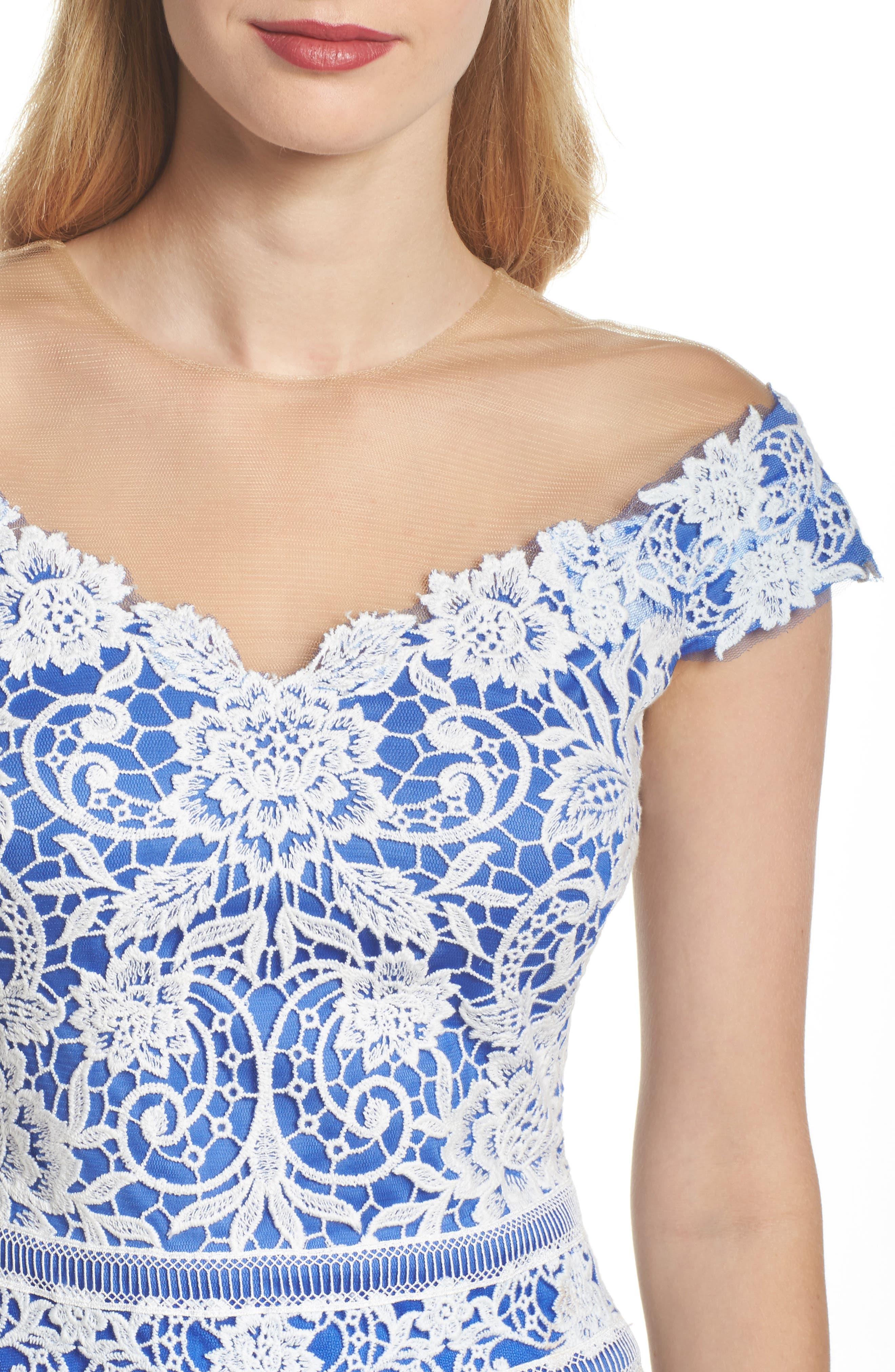 Illusion Neck Crochet Lace Dress,                             Alternate thumbnail 4, color,                             431