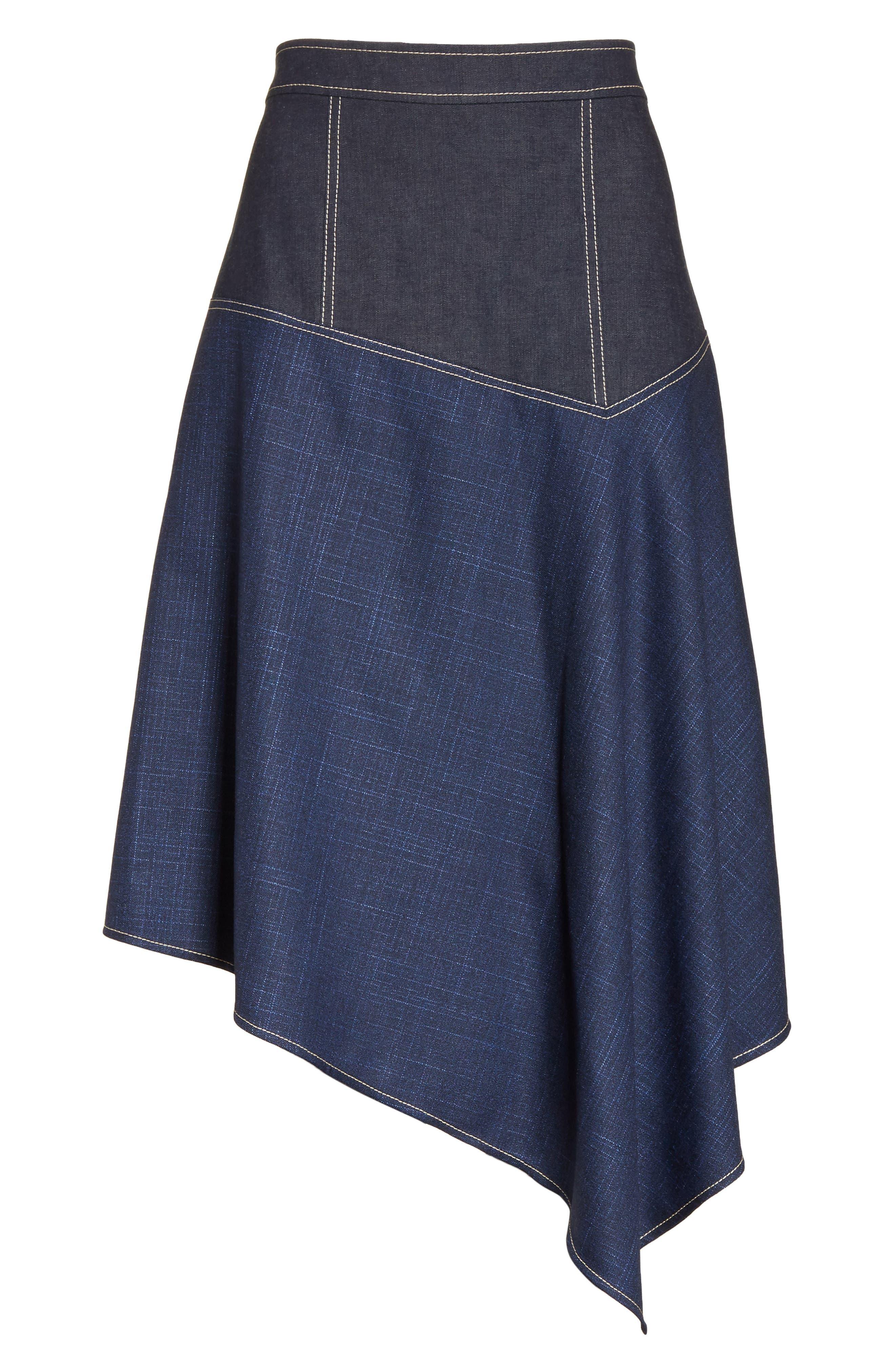 Asymmetrical Mixed Media Skirt,                             Alternate thumbnail 6, color,                             410