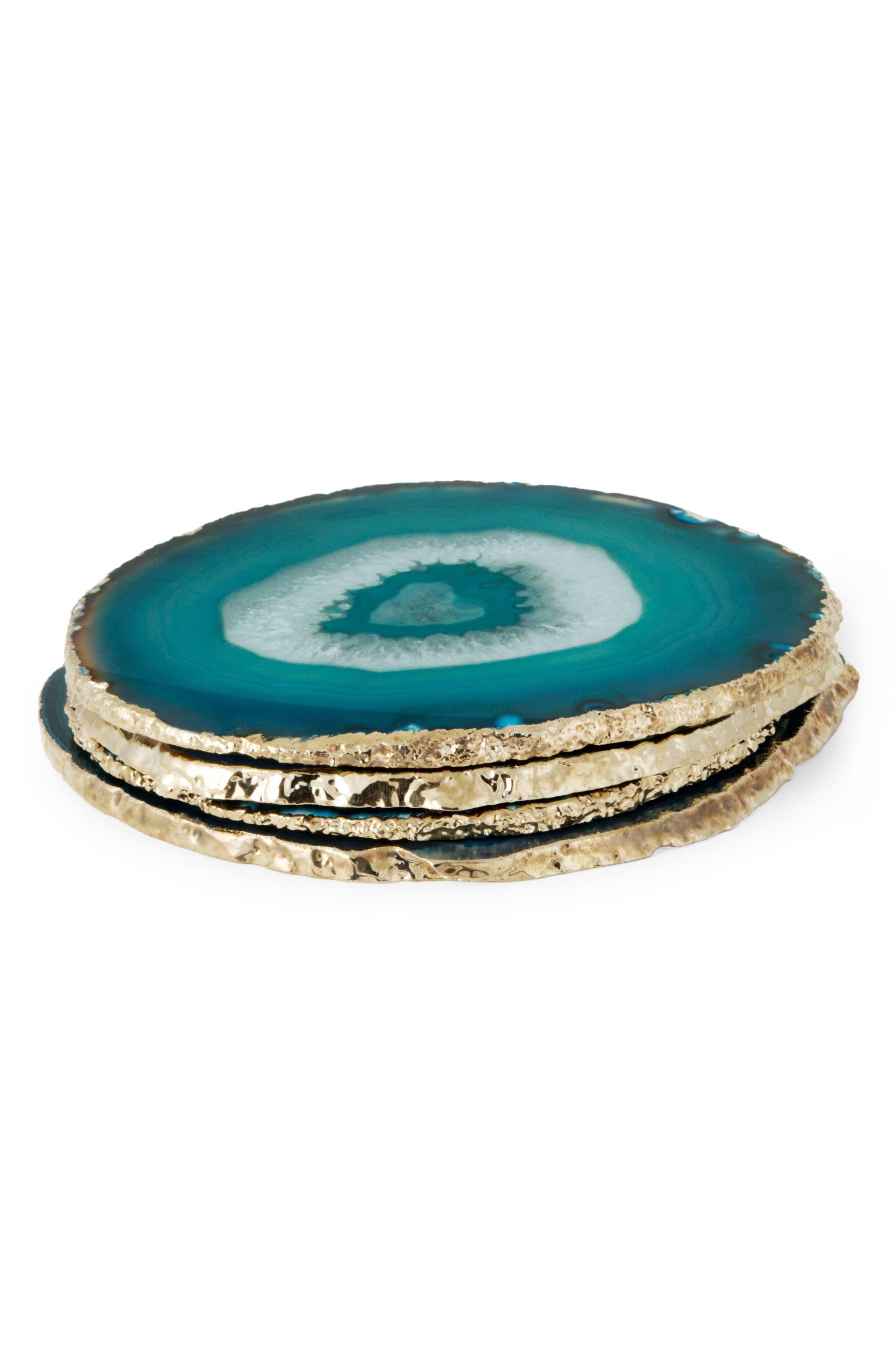 Set of 4 Agate Coasters,                         Main,                         color, BLUE