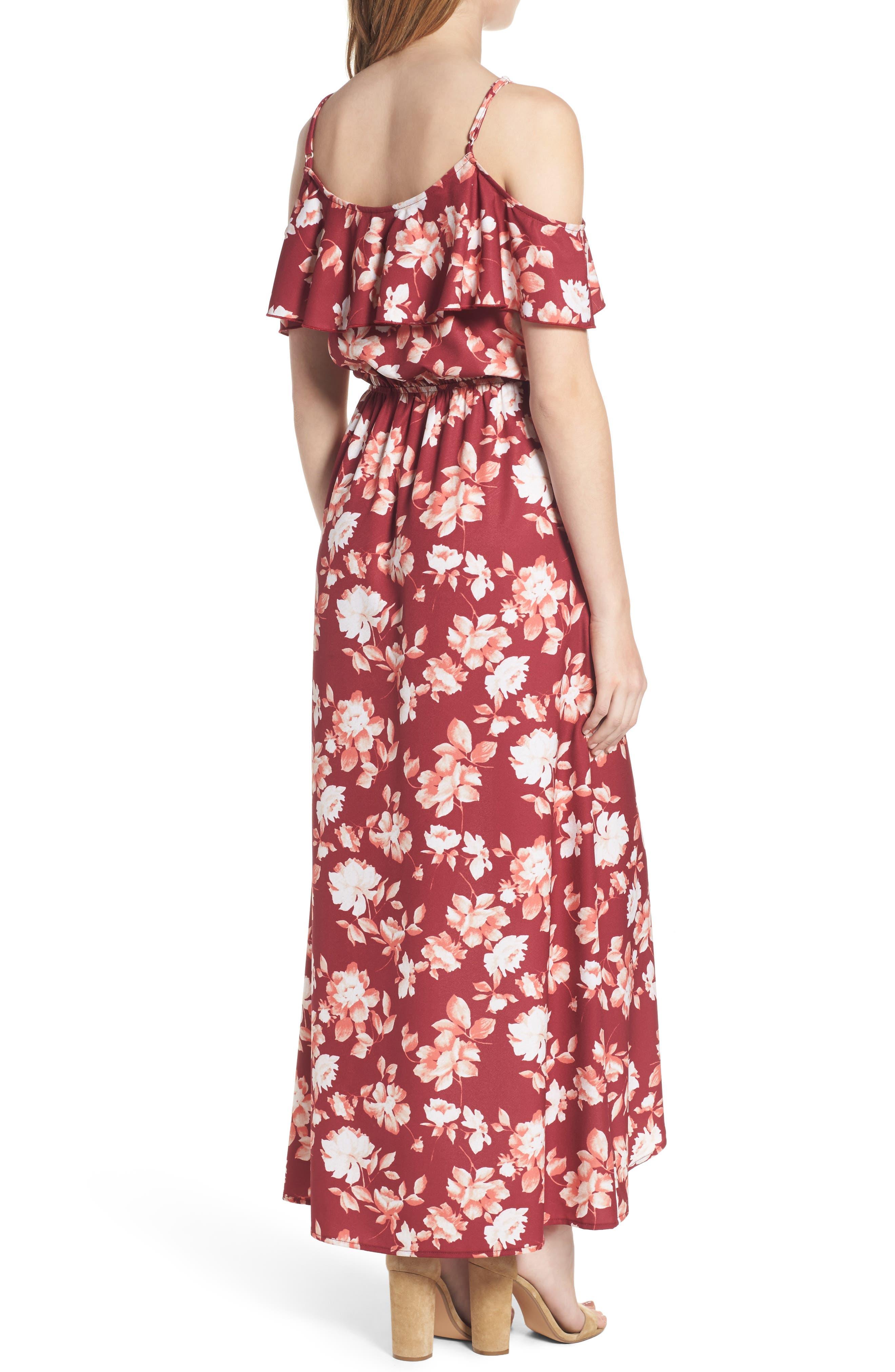 Cold Shoulder Asymmetrical Maxi Dress,                             Alternate thumbnail 4, color,
