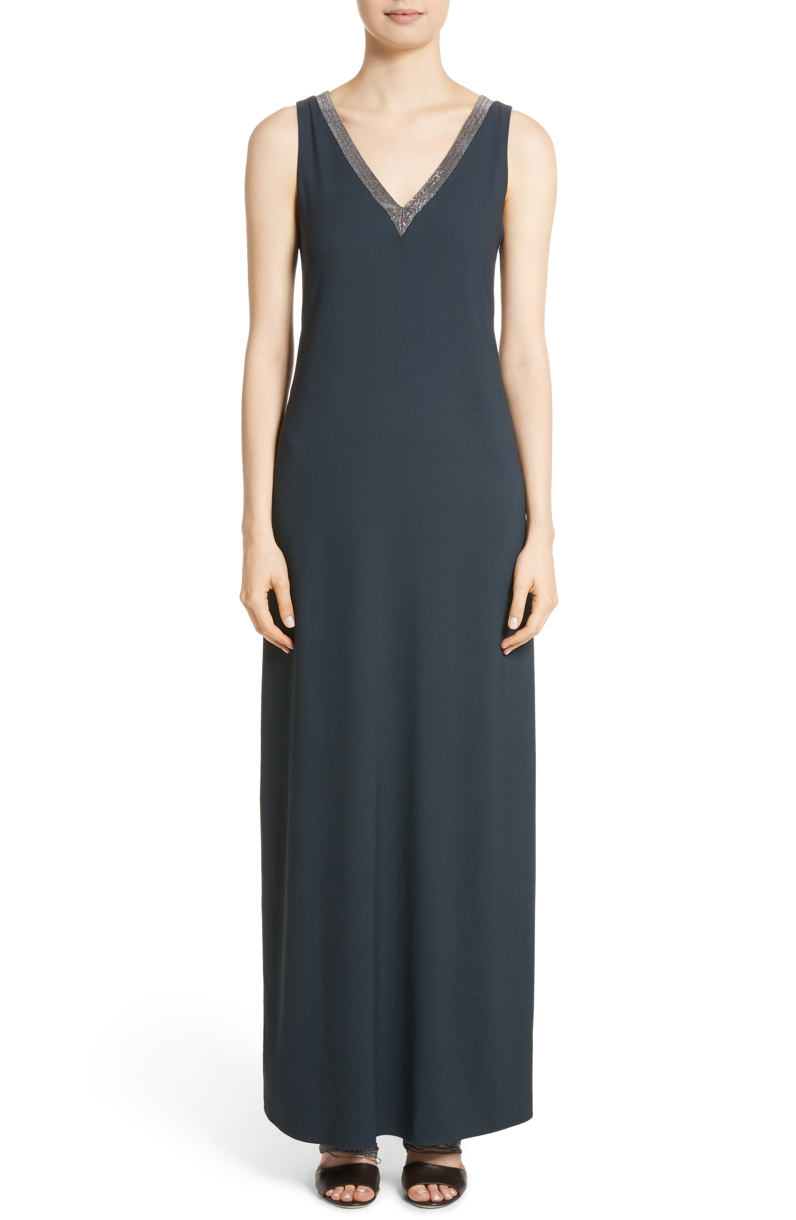 Beaded Maxi Dress,                             Alternate thumbnail 5, color,                             001