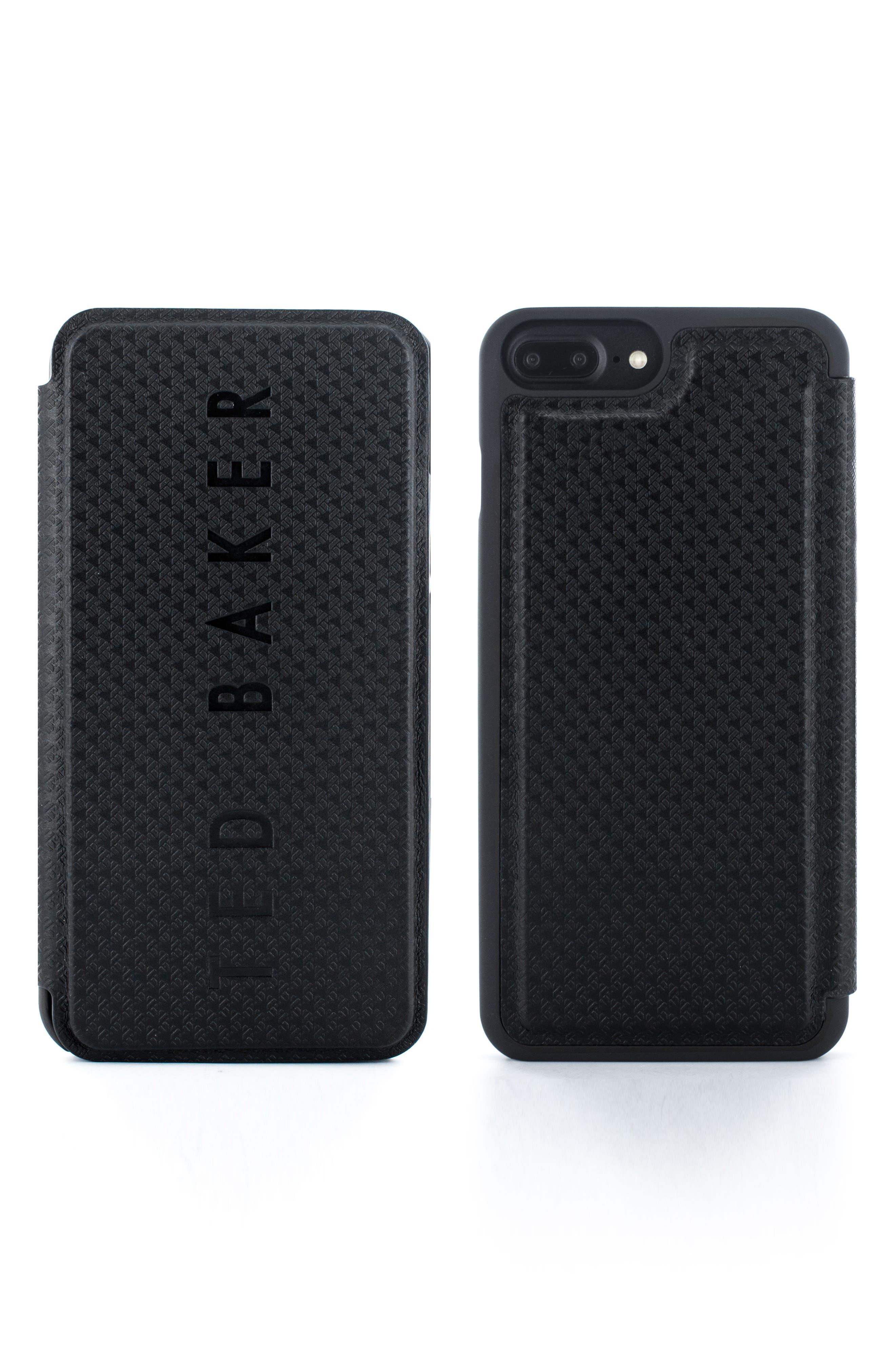 Callst Faux Leather iPhone 6/6s/7/8 Plus Folio Case,                         Main,                         color, BLACK