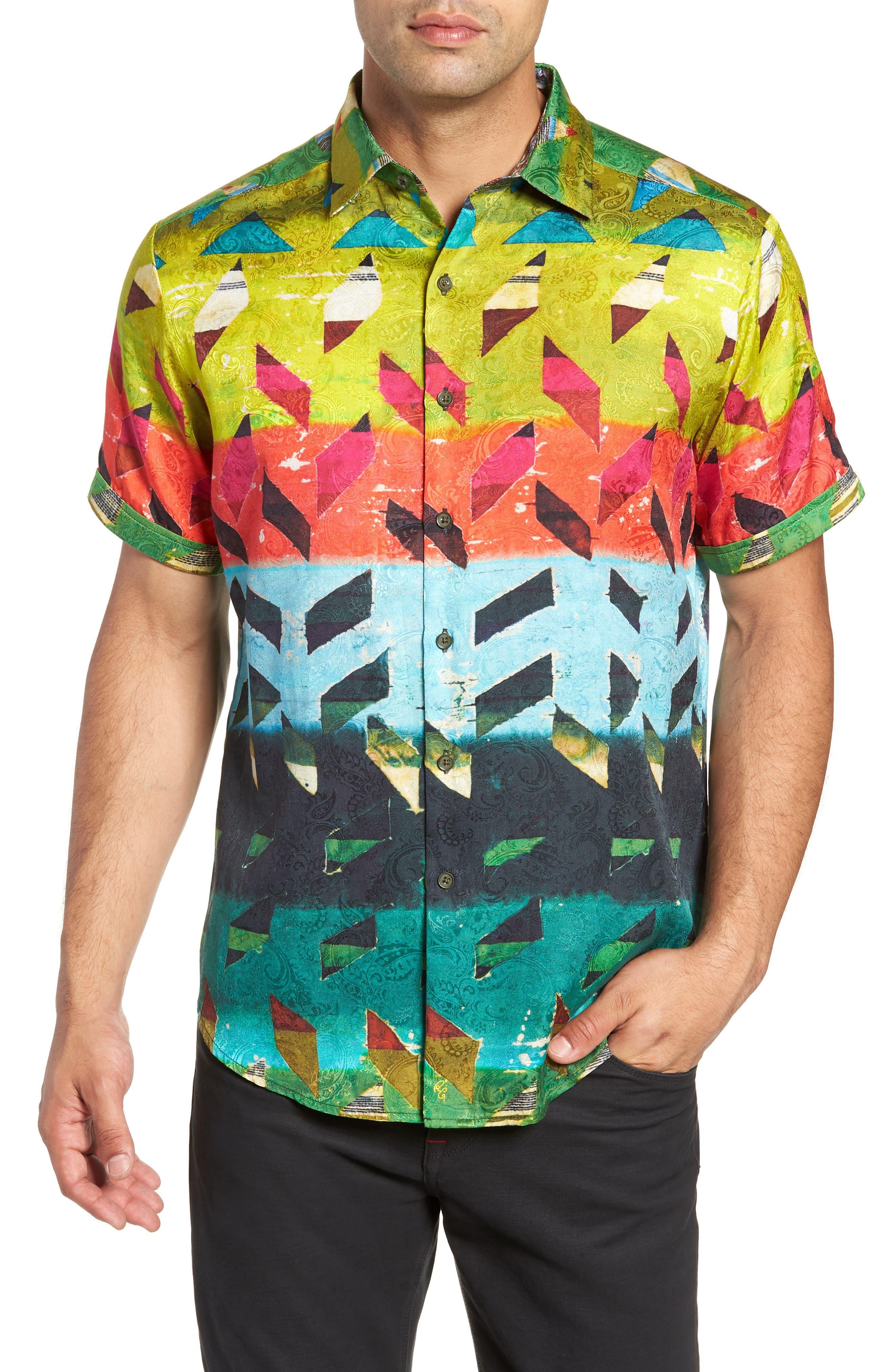 Sharpe Classic Fit Silk Blend Sport Shirt,                         Main,                         color, MULTI