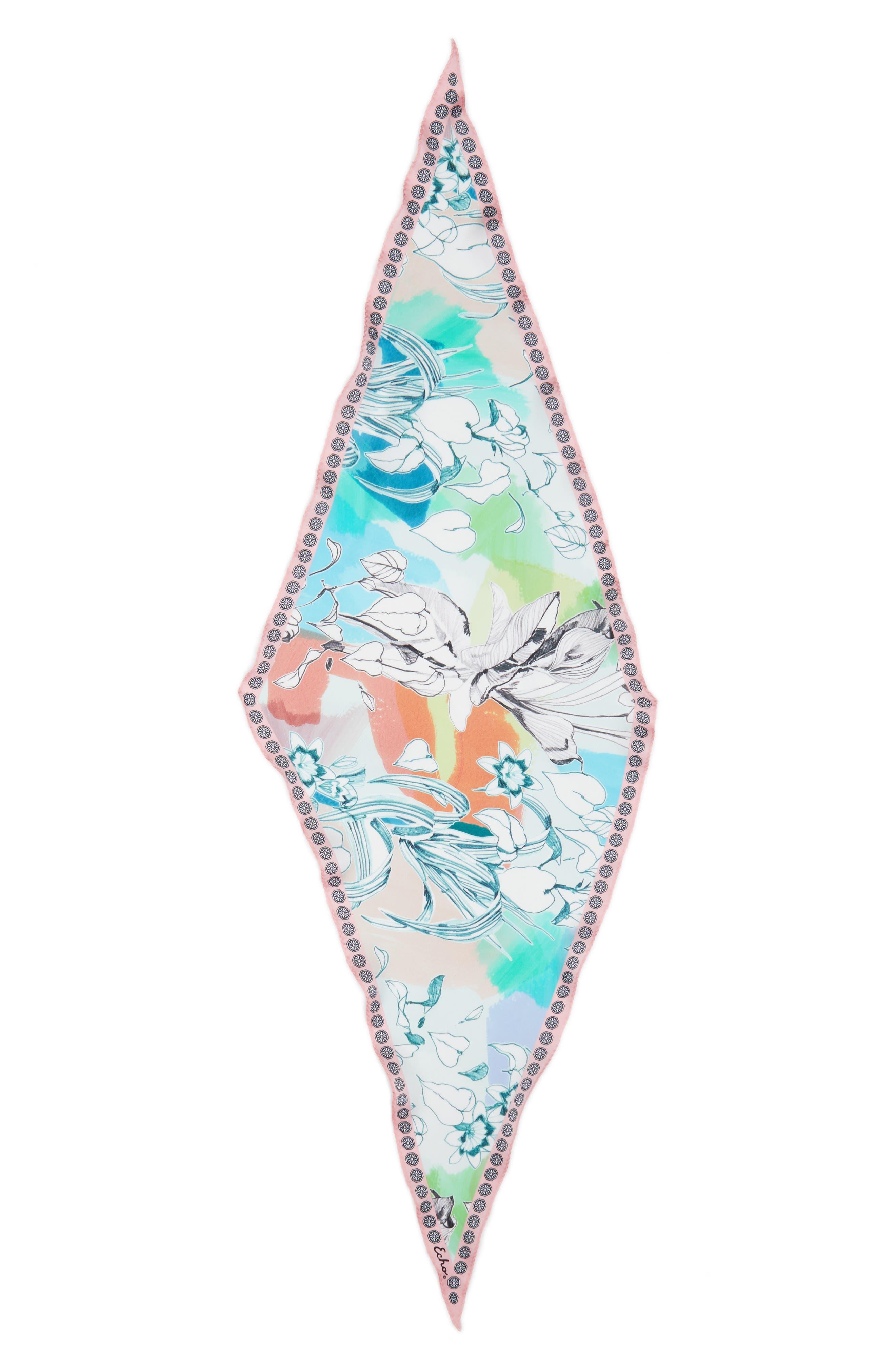 Seaside Floral Diamond Silk Scarf,                             Alternate thumbnail 3, color,                             100