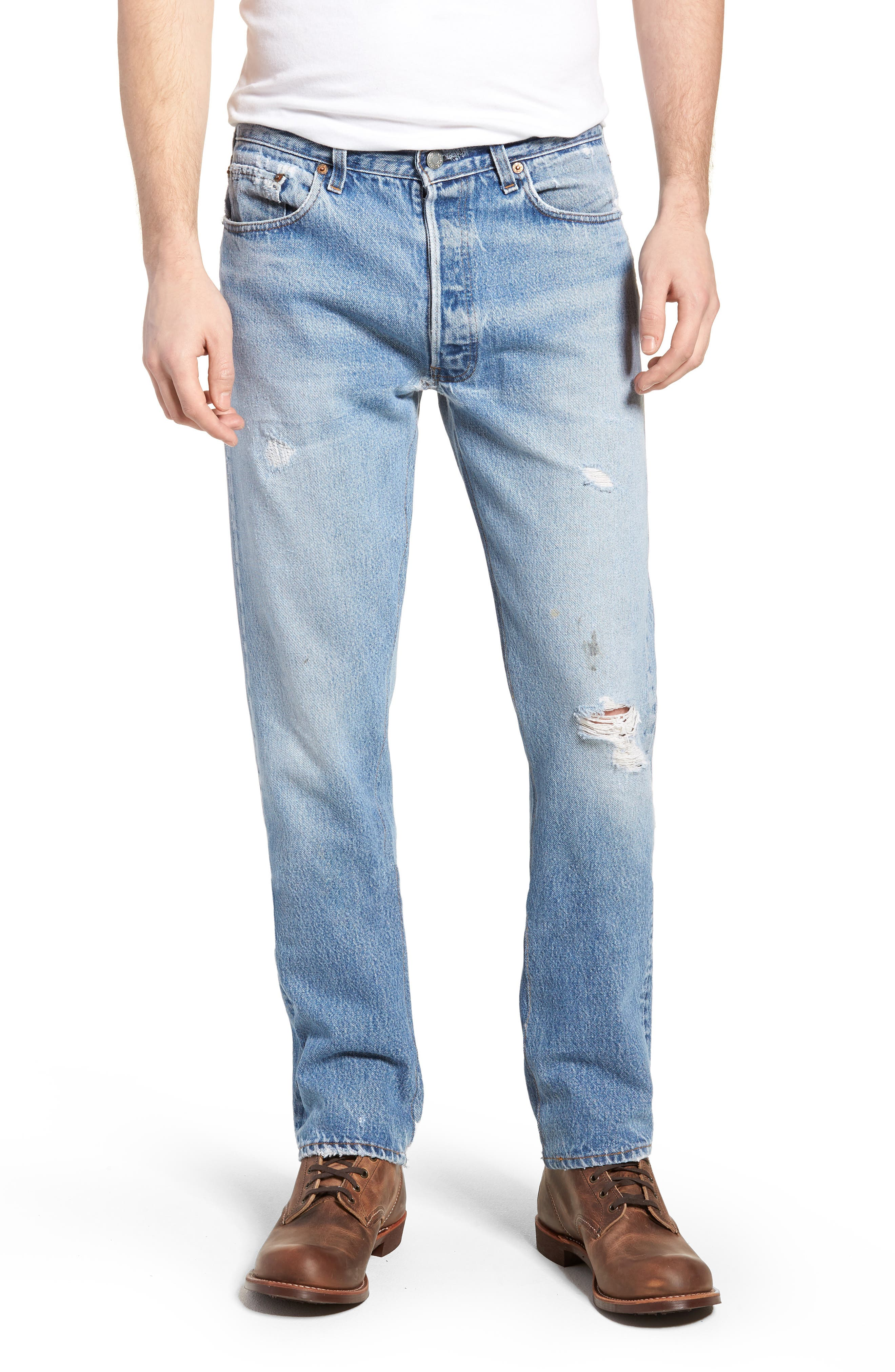Authorized Vintage 501<sup>™</sup> Tapered Slim Fit Jeans,                         Main,                         color, AV BLUE