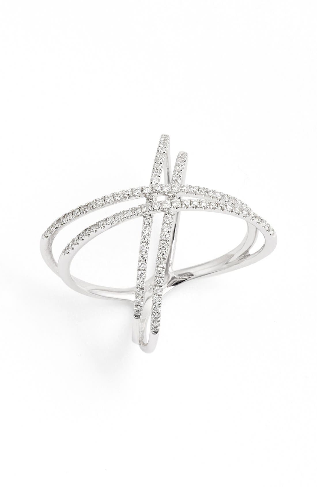Double X Crossover Diamond Ring,                             Main thumbnail 1, color,                             WHITE GOLD