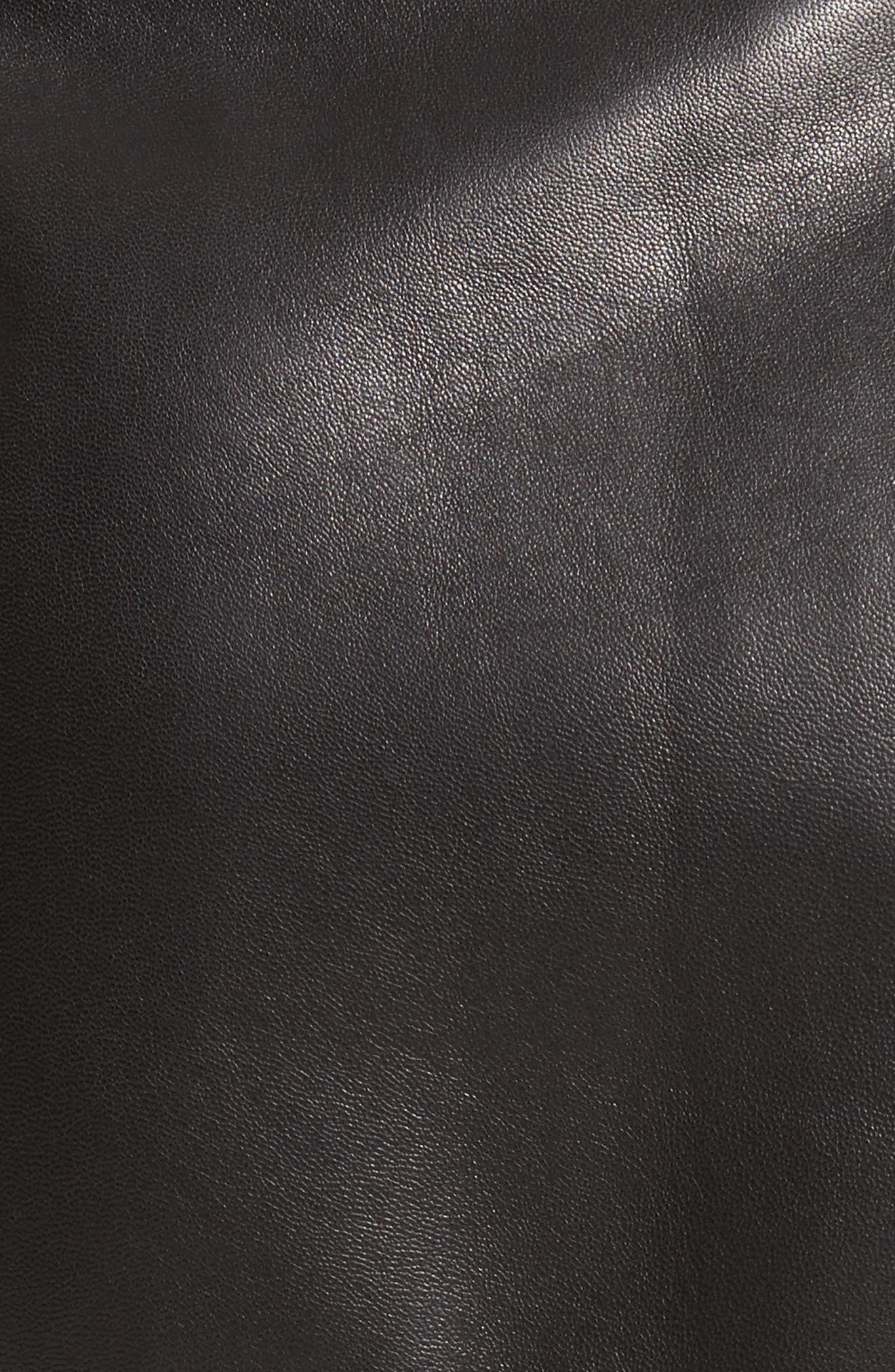 Fringe Hem Leather Miniskirt,                             Alternate thumbnail 5, color,