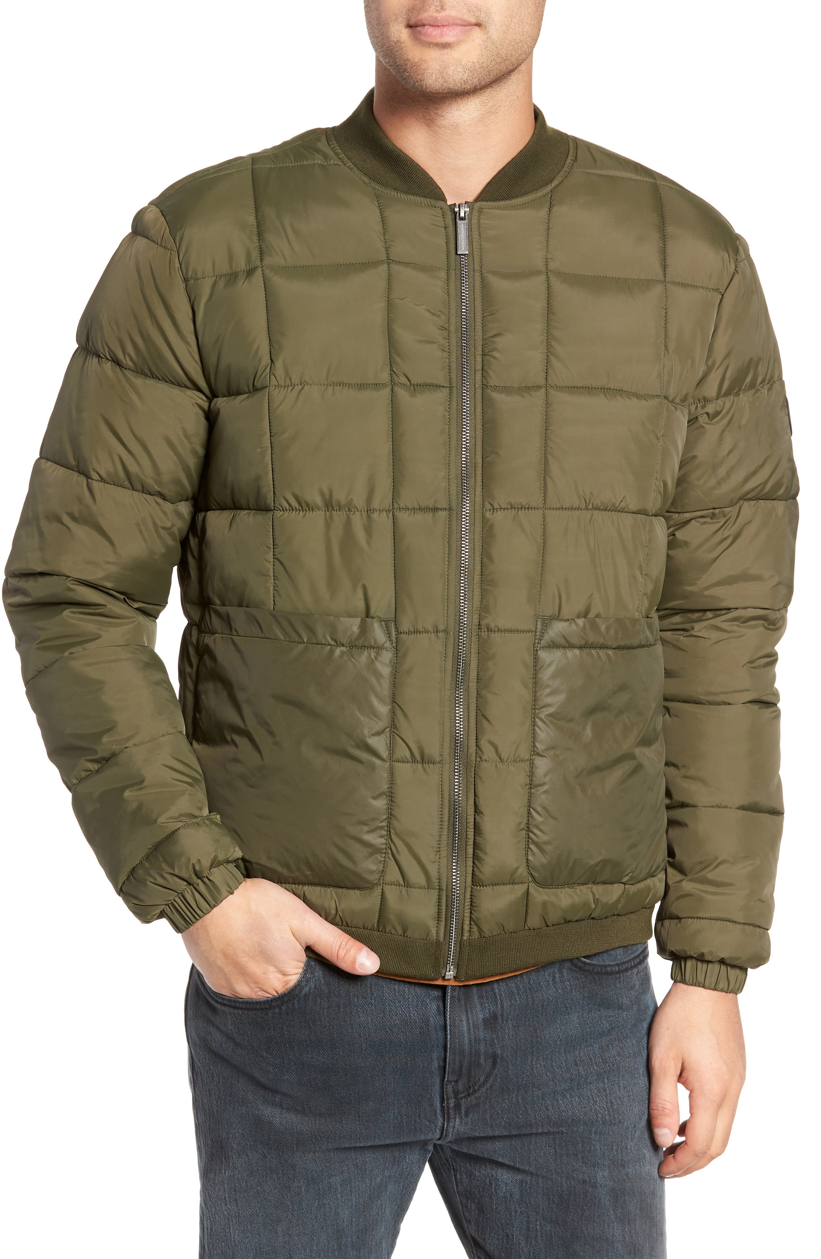 Quilted Short Jacket,                             Alternate thumbnail 4, color,                             OLIVE