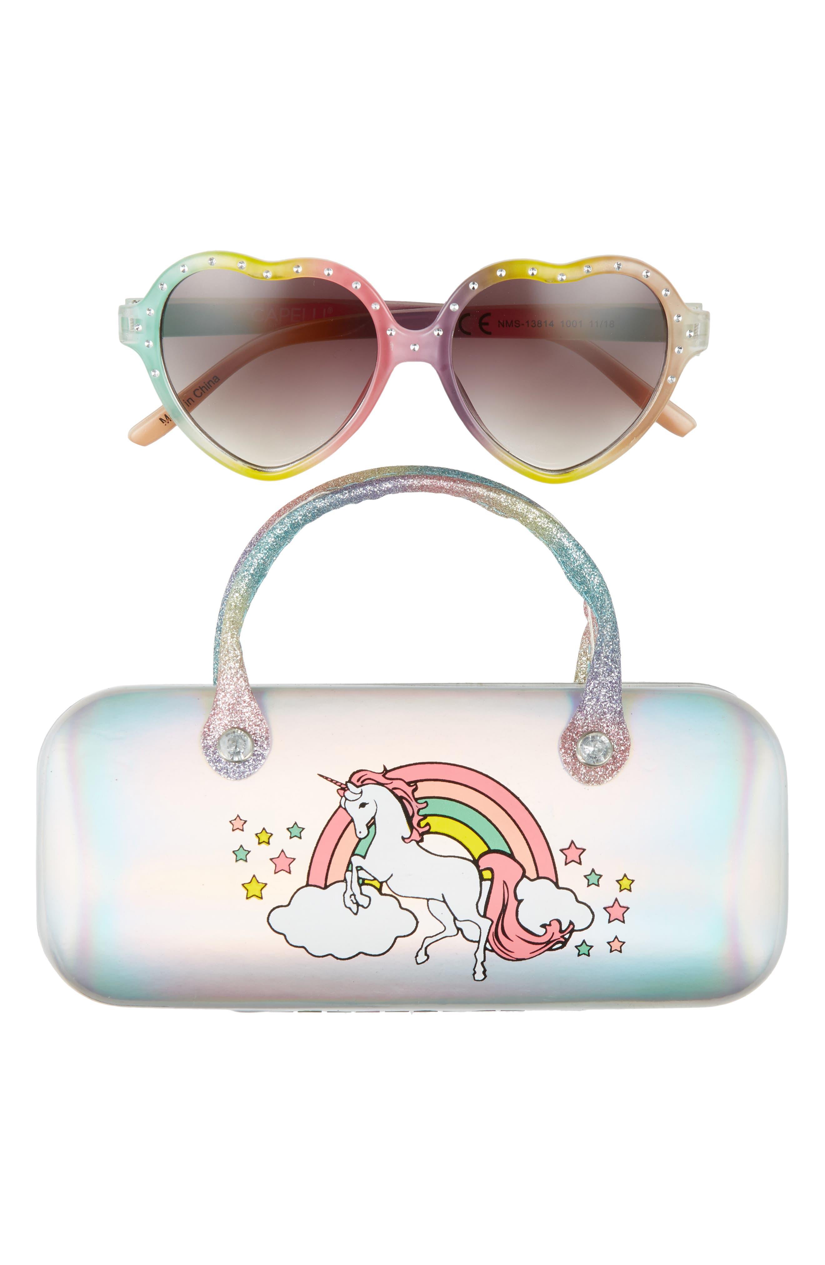 CAPELLI NEW YORK 49mm Heart Sunglasses & Metallic Case Set, Main, color, MULTI COMBO